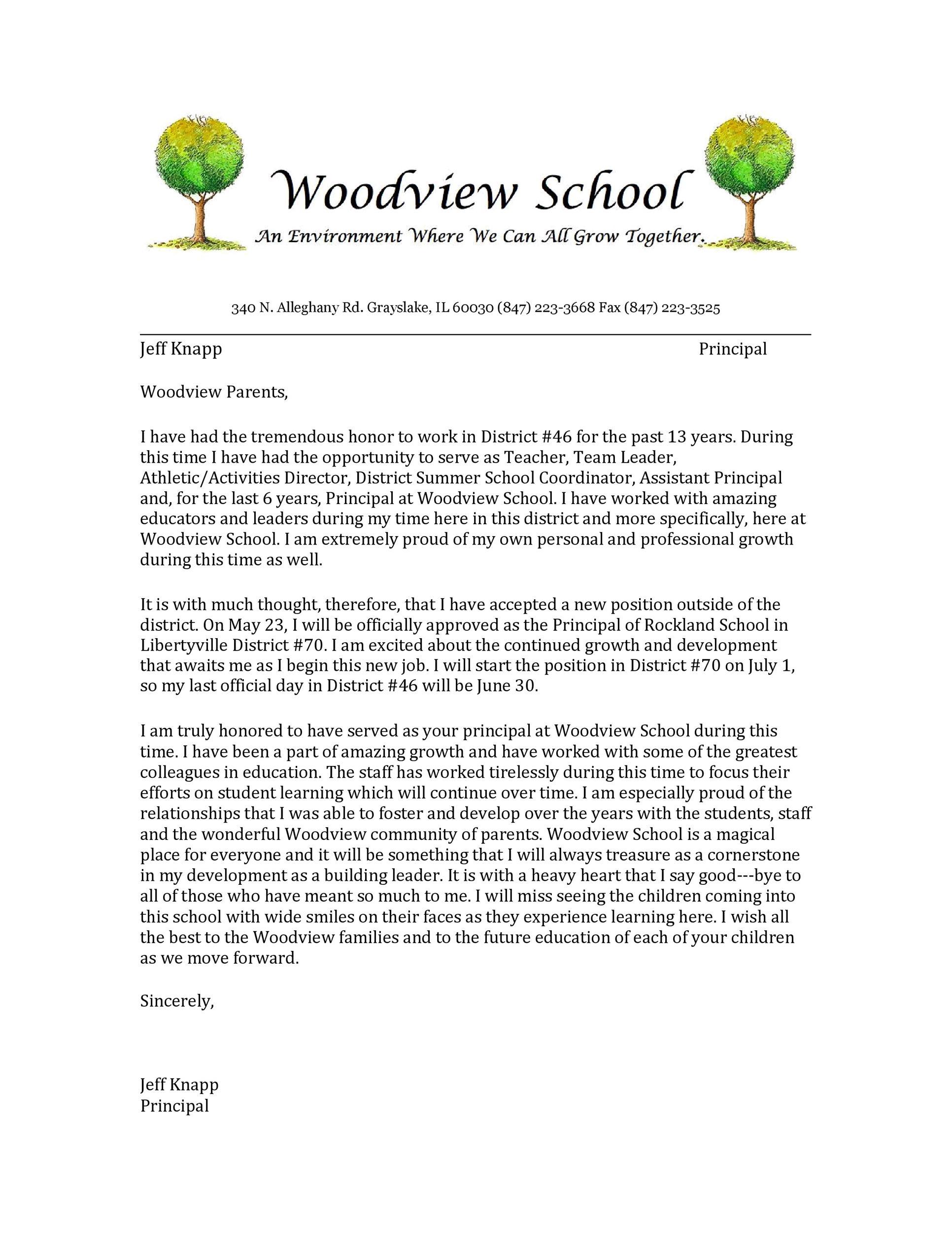 Free teacher resignation letter 47