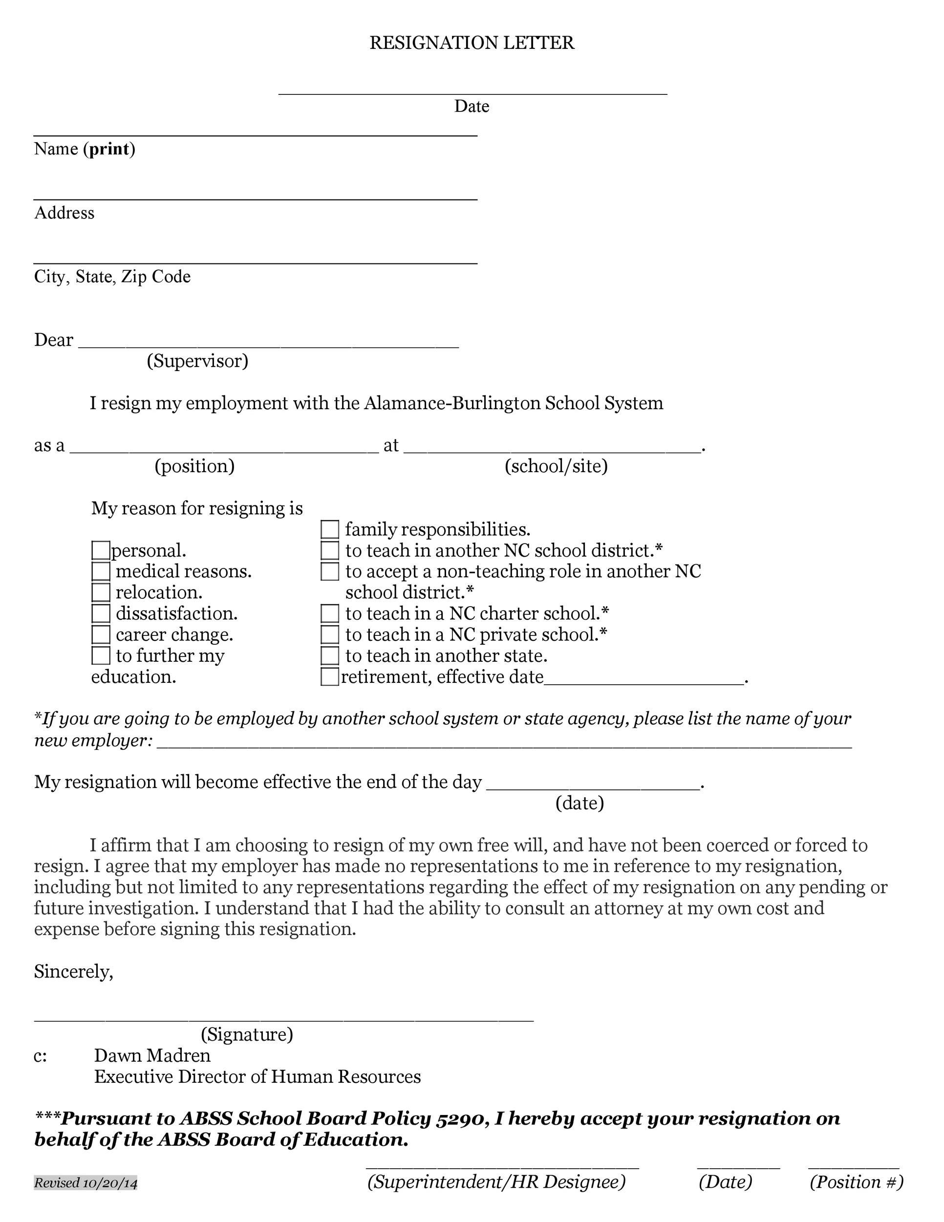 Free teacher resignation letter 50