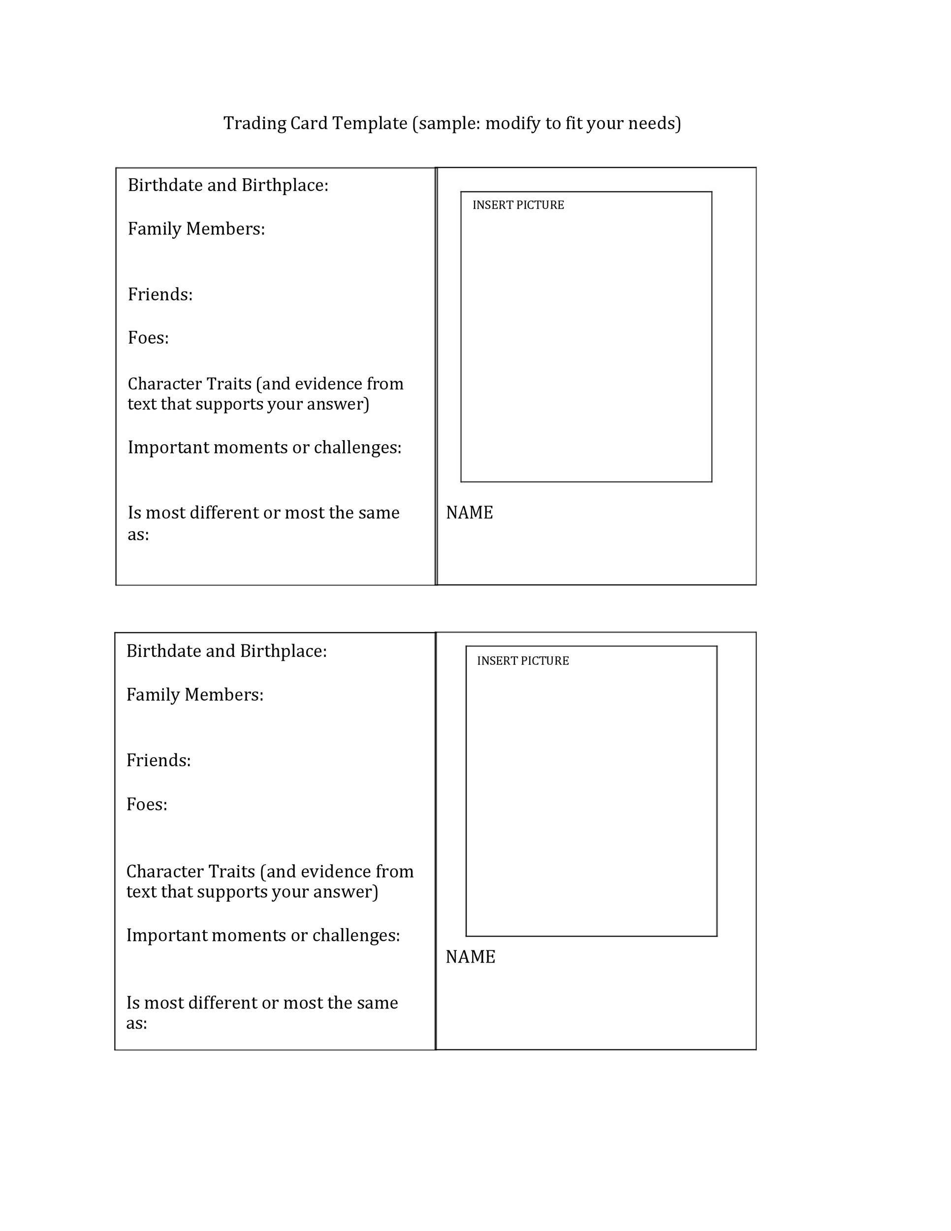 Free trading card template 08