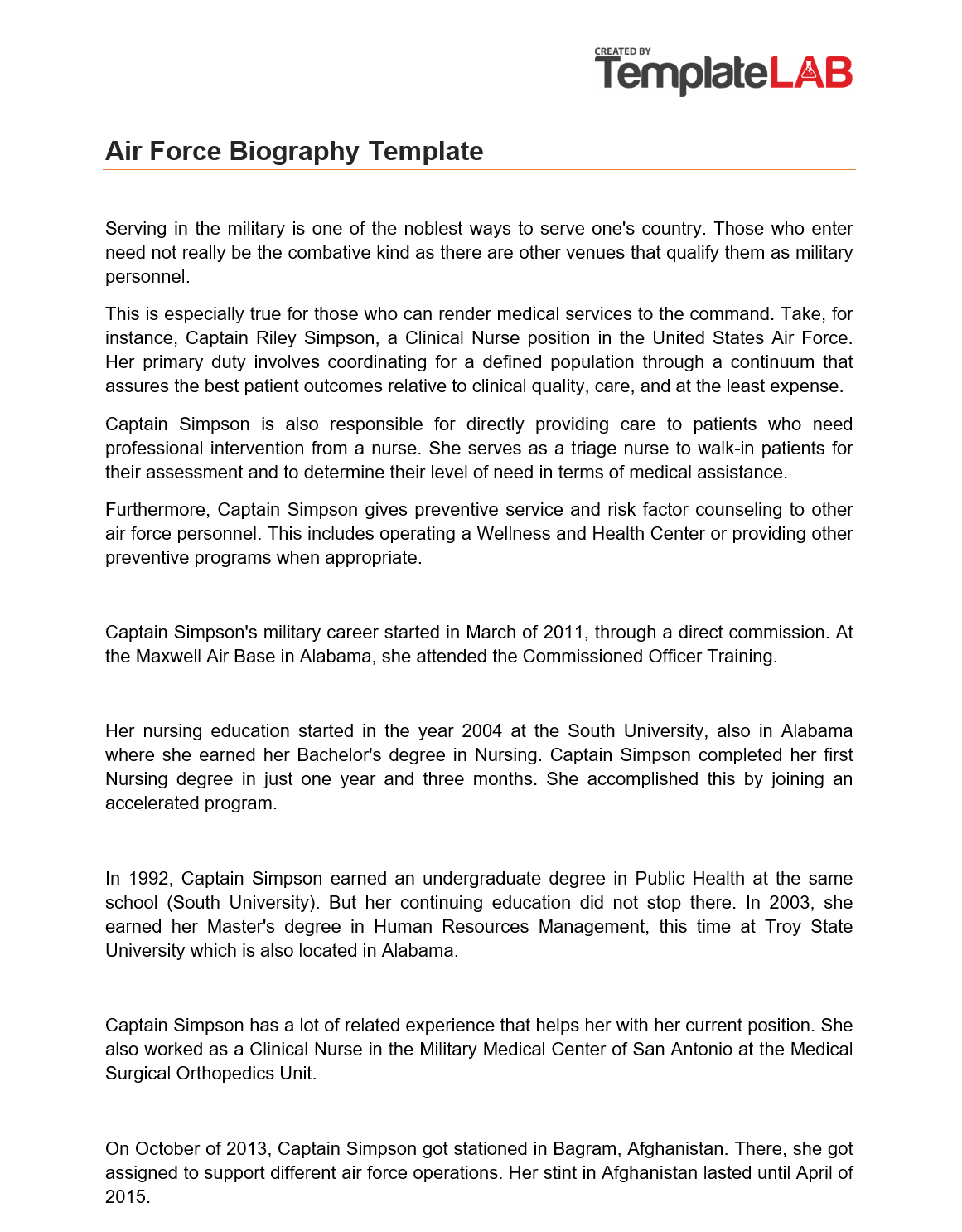 Free Air Force Biography template