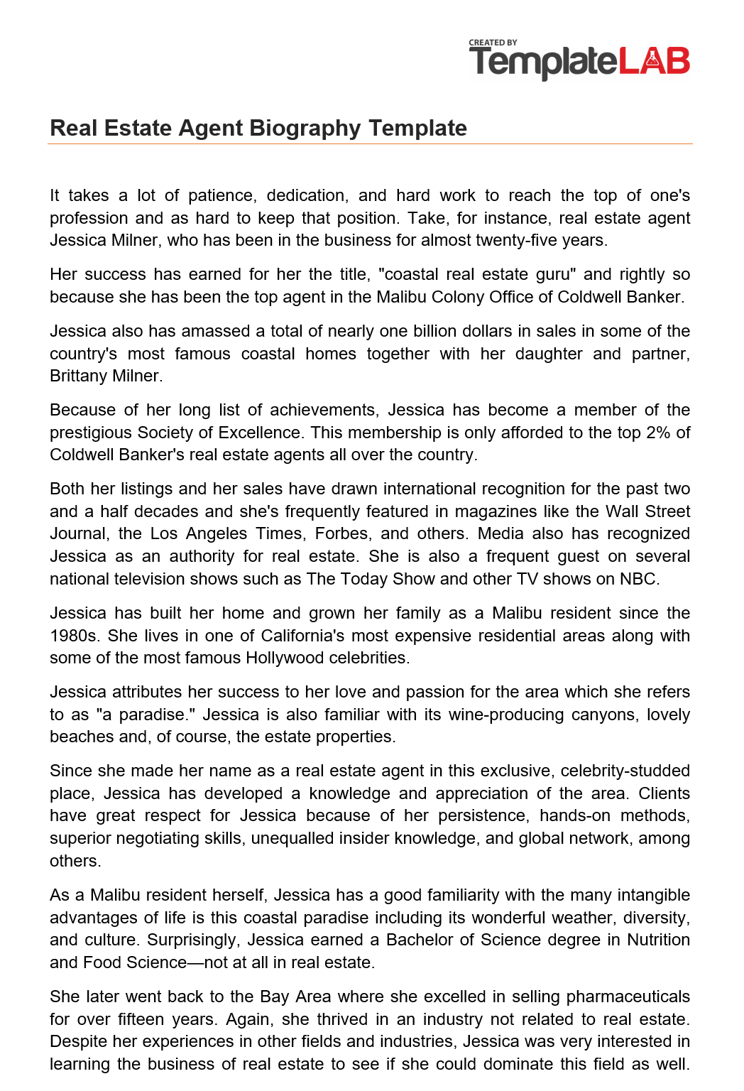Free Real Estate Agent Biography Template
