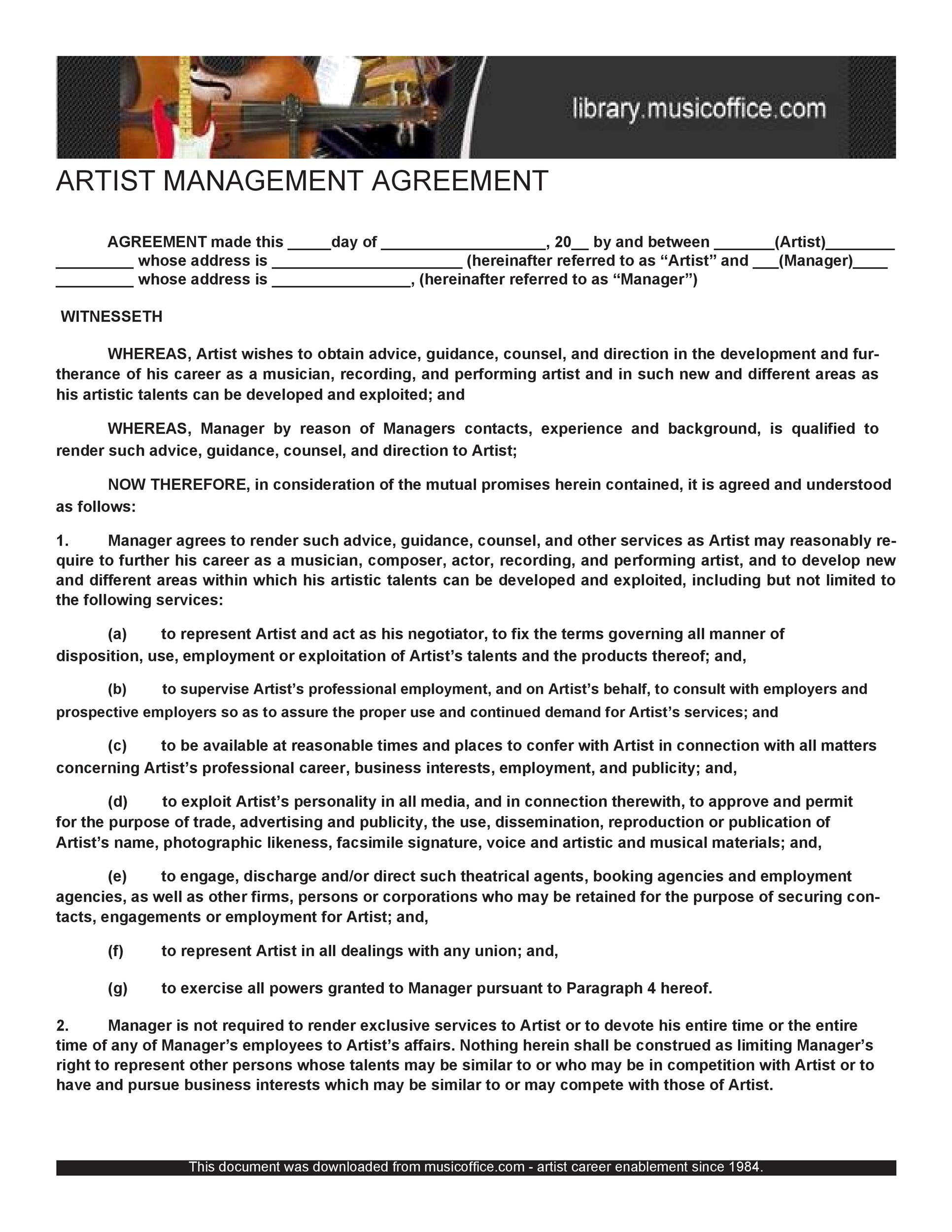 Free artist management contract 03