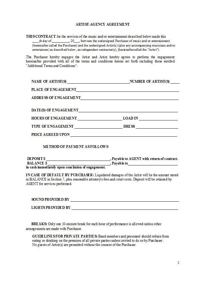Free artist management contract 08