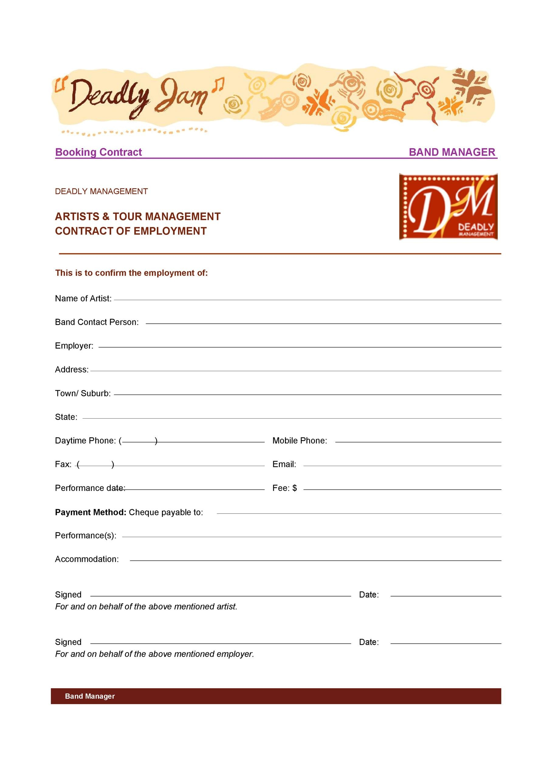 Free artist management contract 09