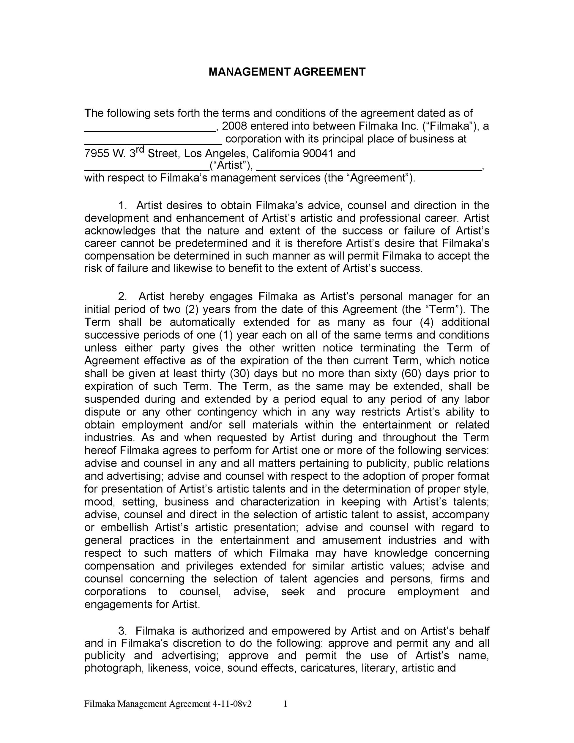 Free artist management contract 10