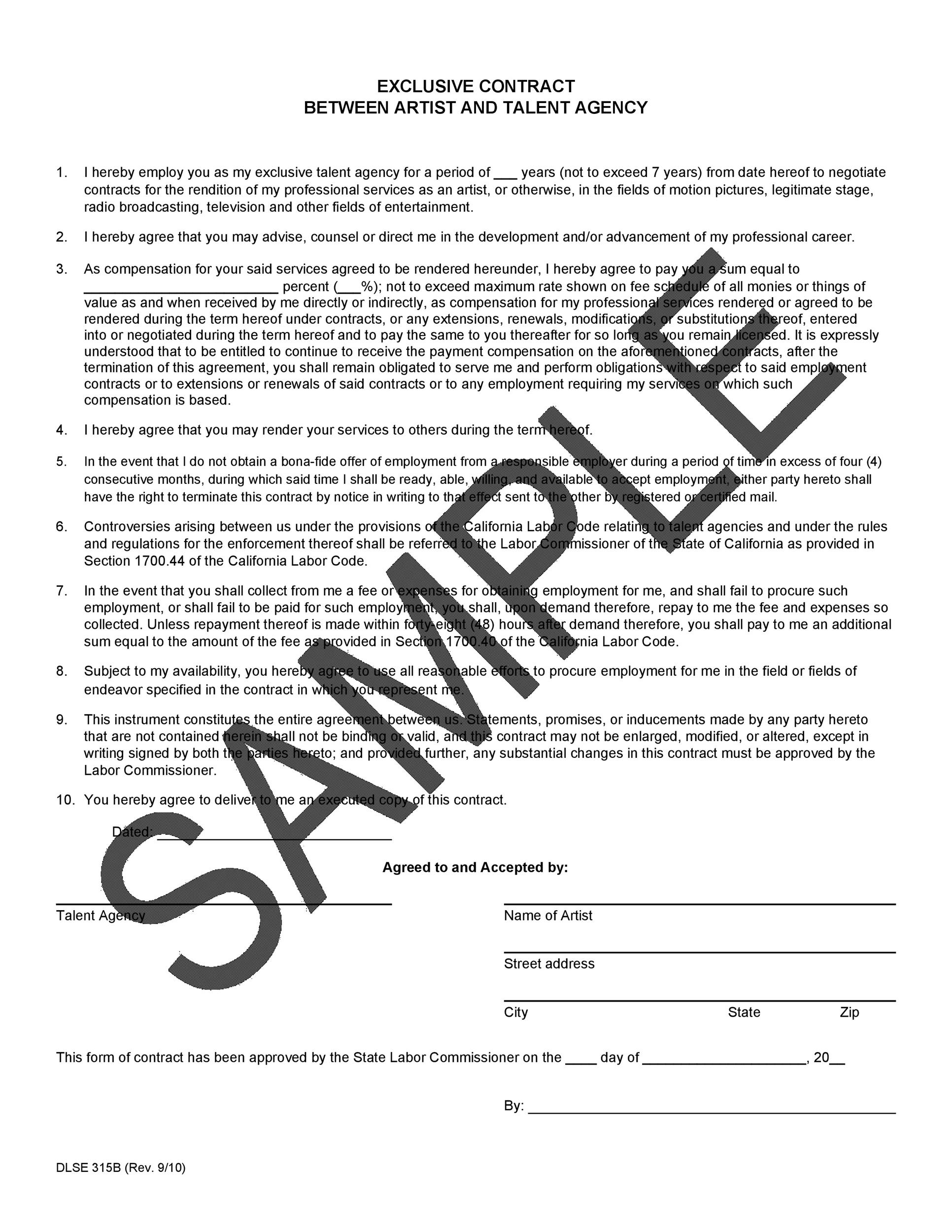Free artist management contract 13