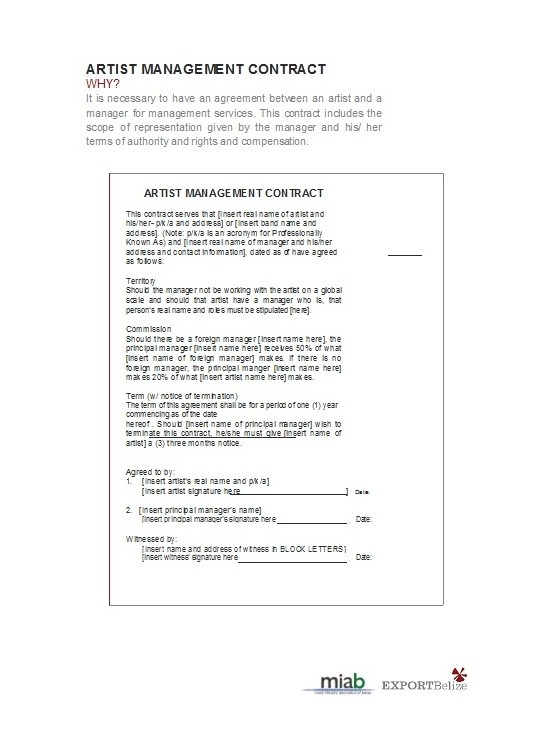 Free artist management contract 14