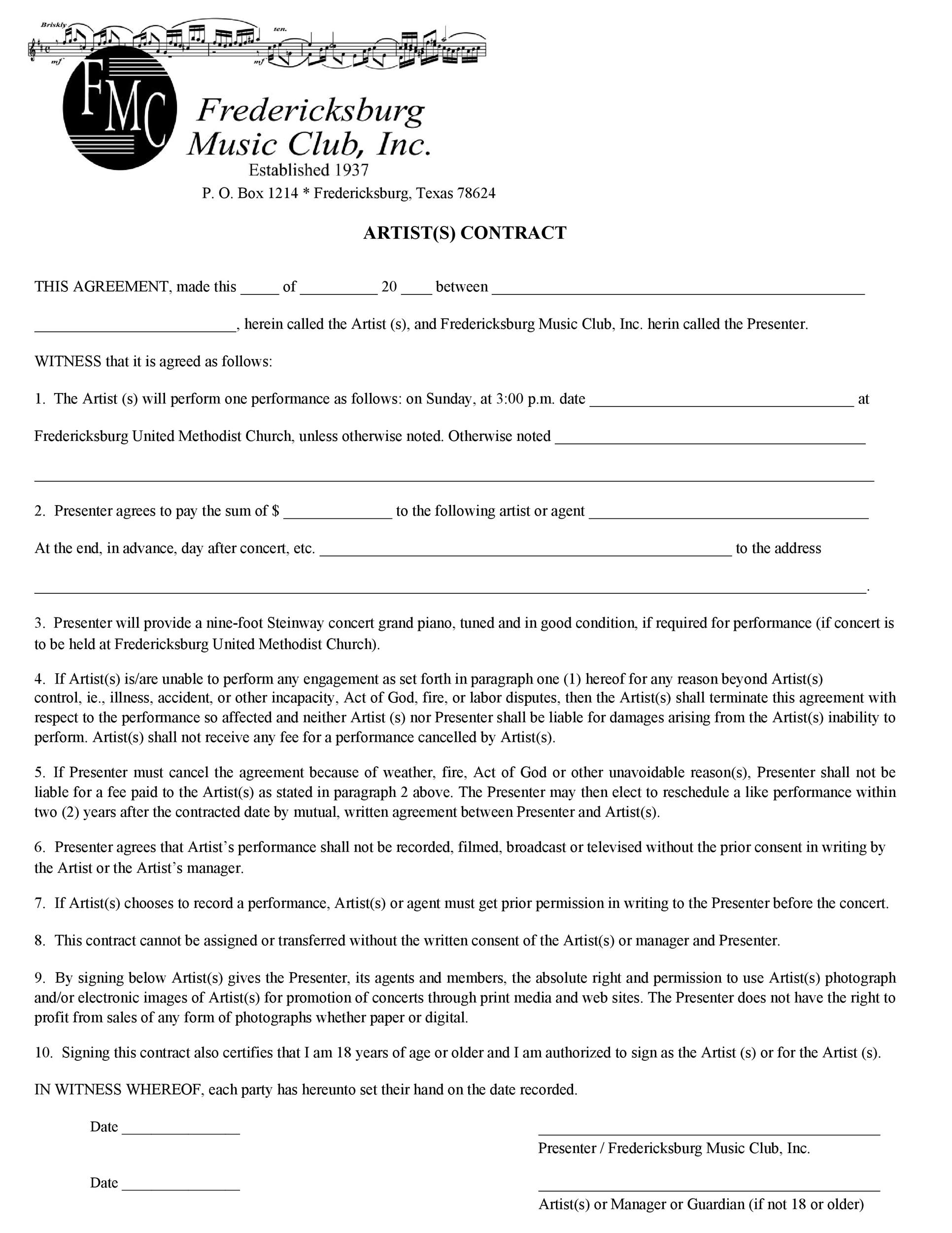 Free artist management contract 15