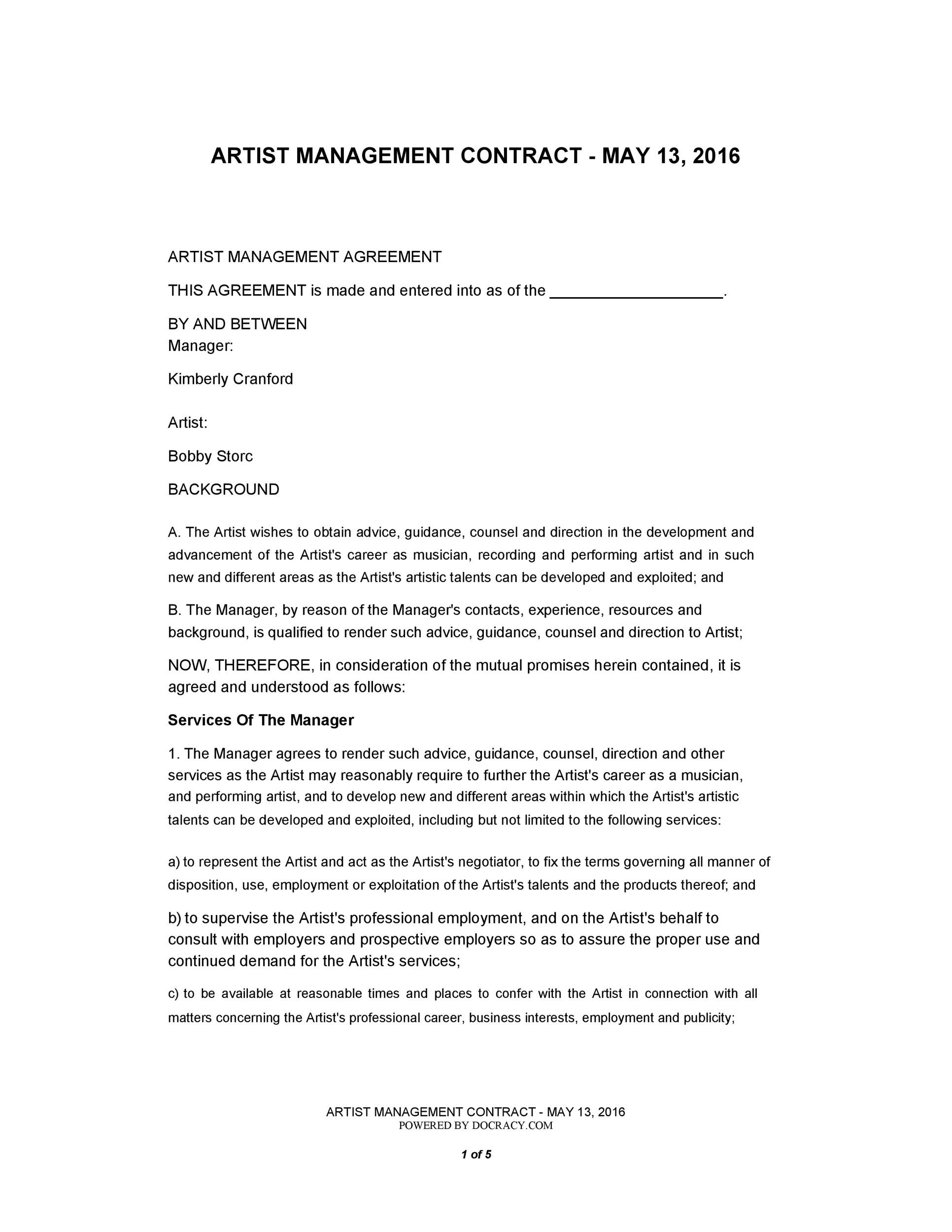 Free artist management contract 26