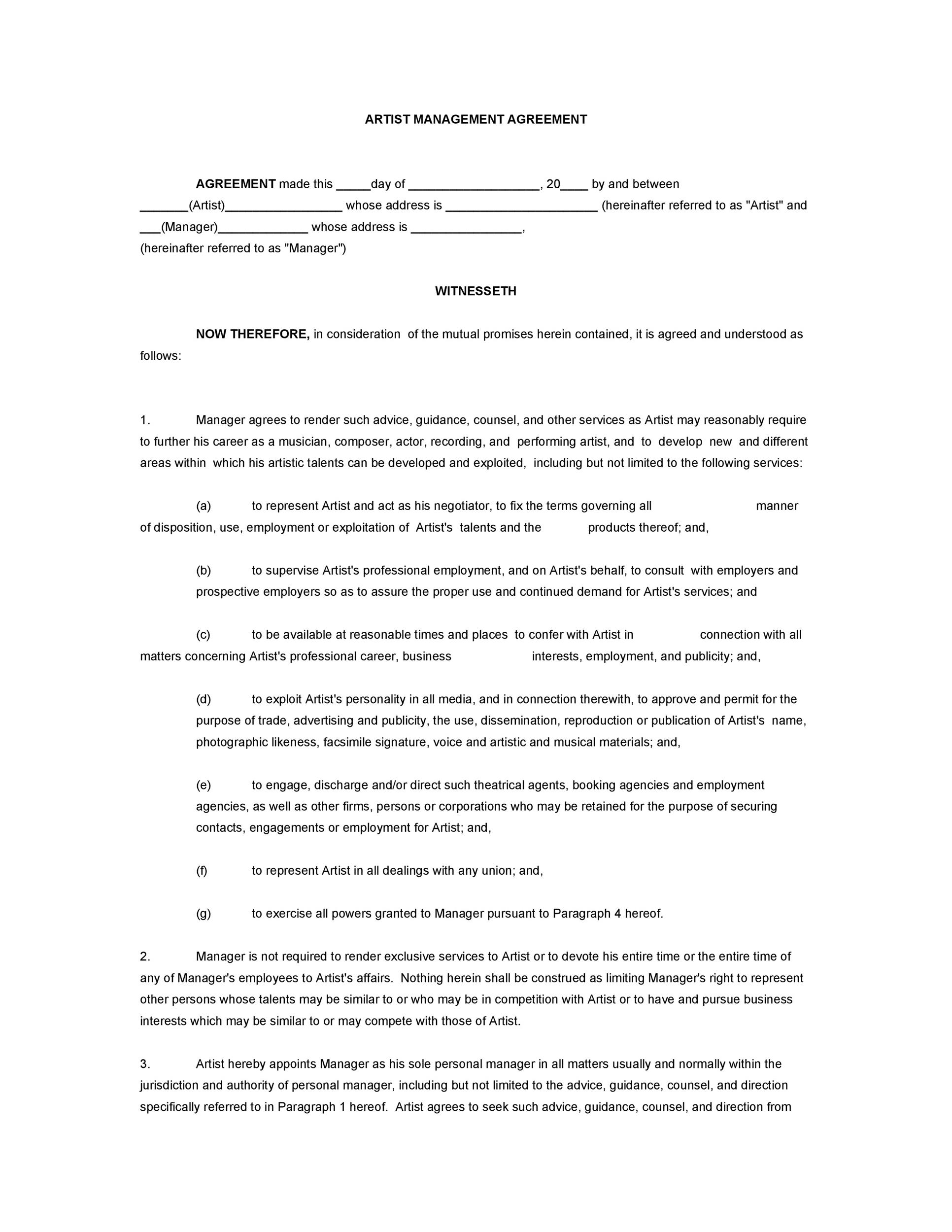 Free artist management contract 27