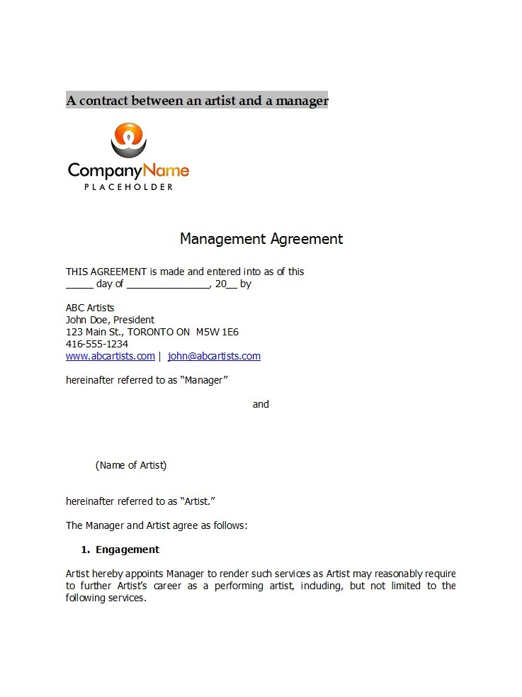 Free artist management contract 29
