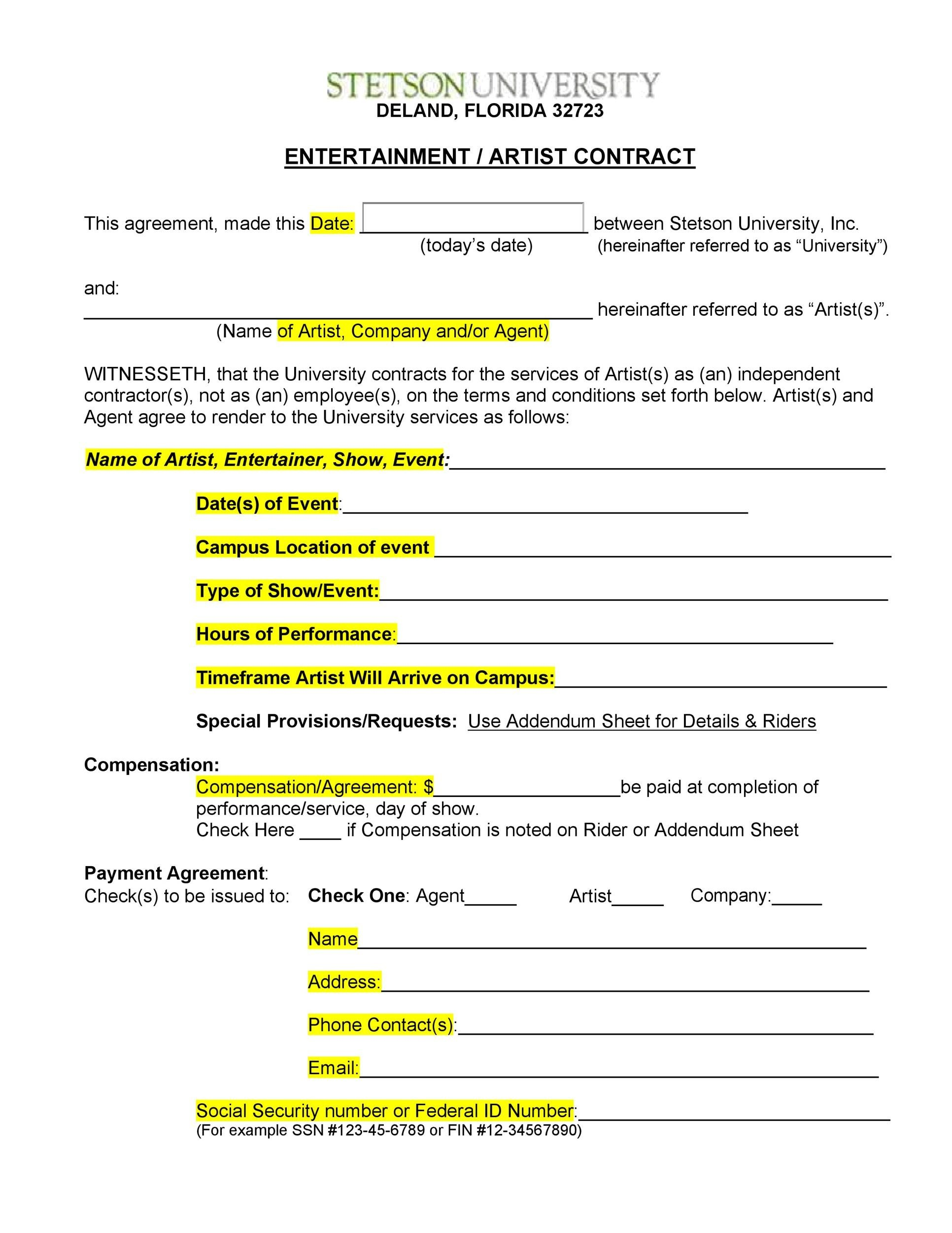 Free artist management contract 38