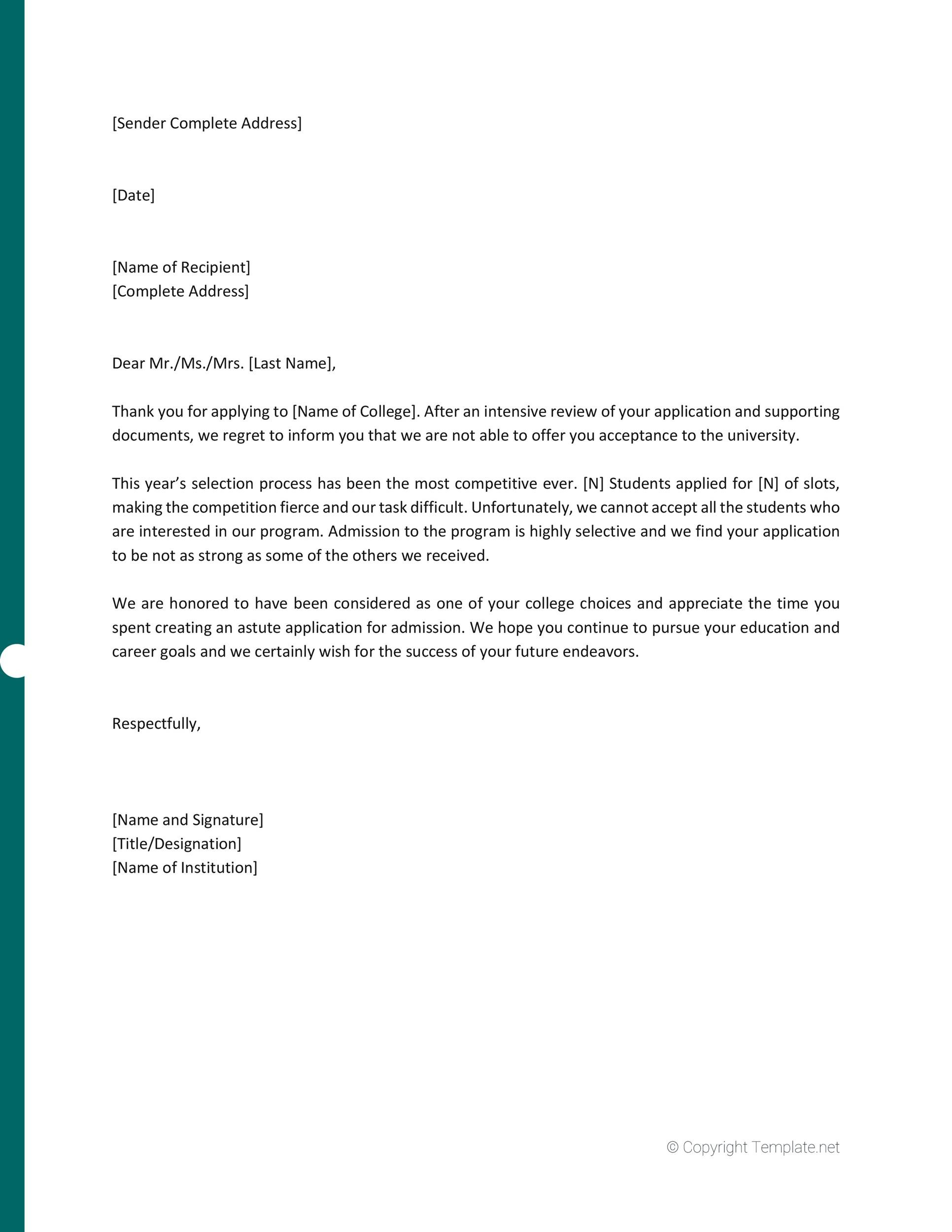 Free college rejection letter 02