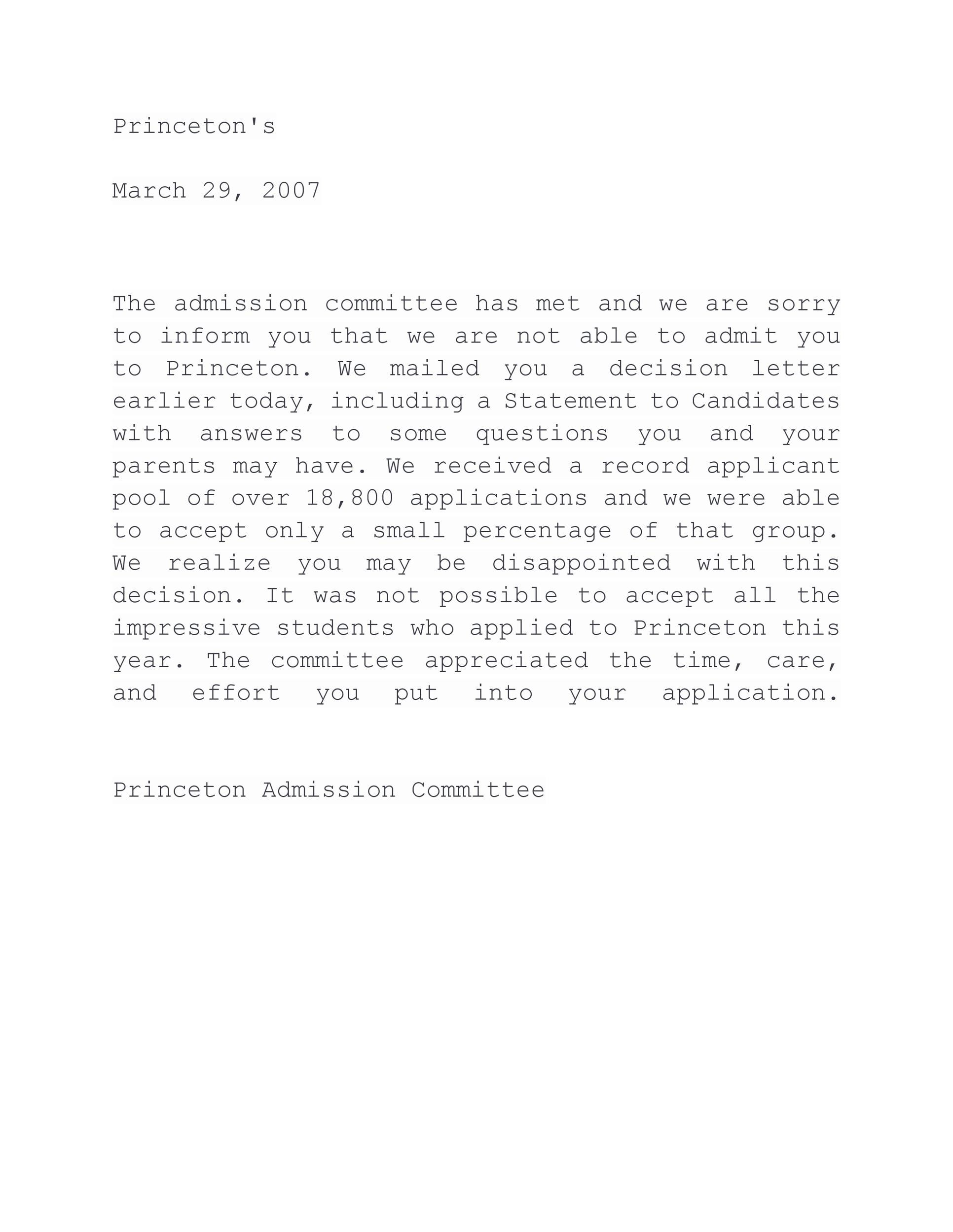 Free college rejection letter 06