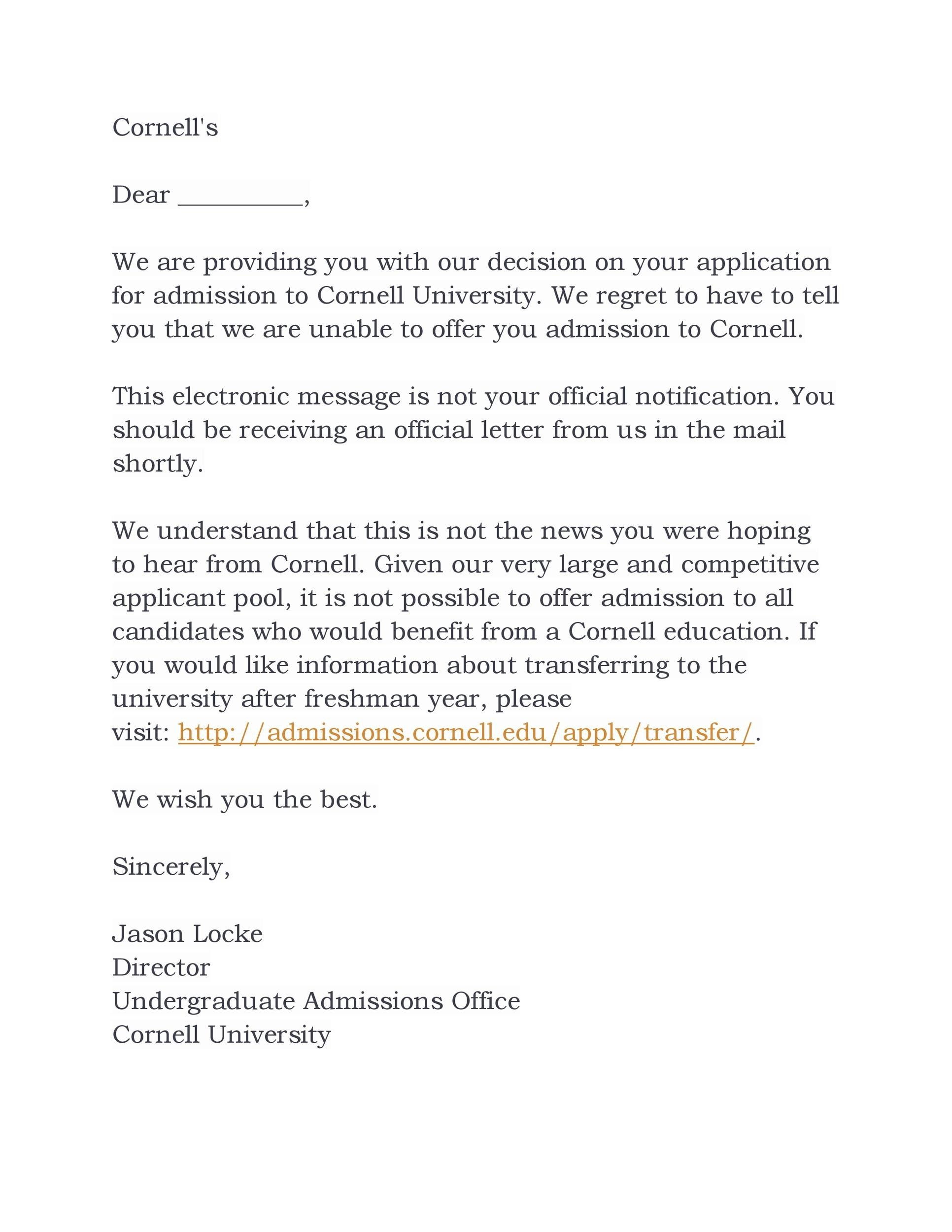 Free college rejection letter 07