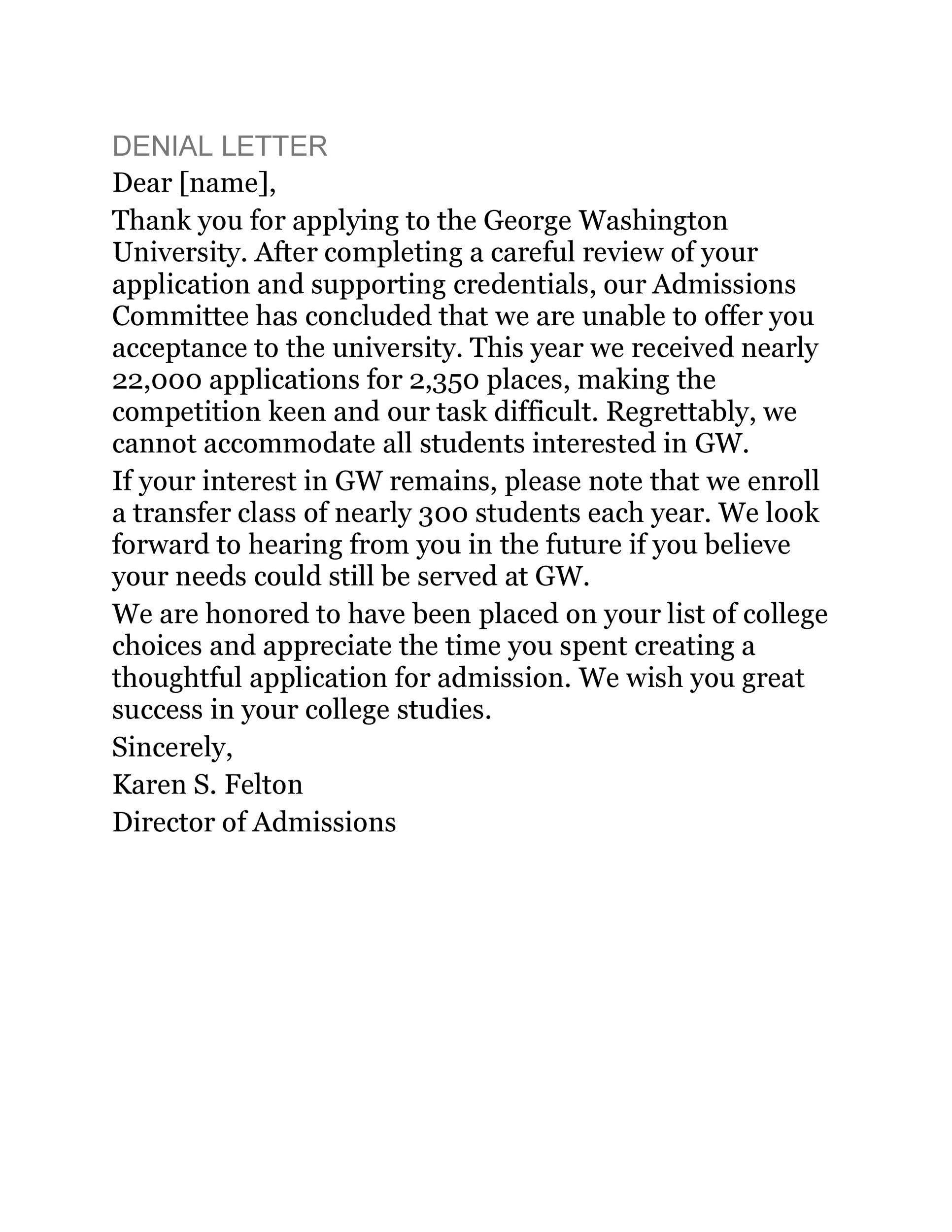 Free college rejection letter 10