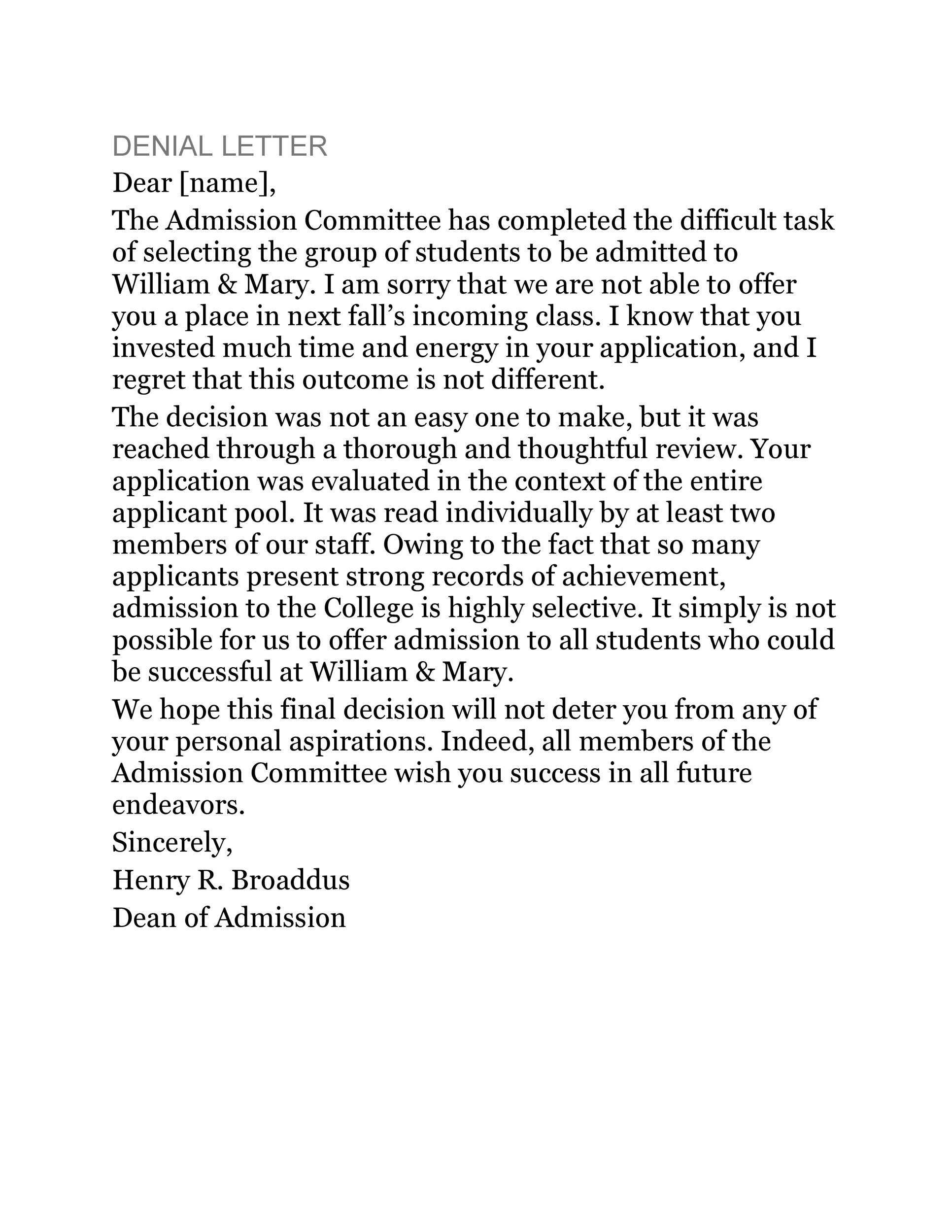 Free college rejection letter 11
