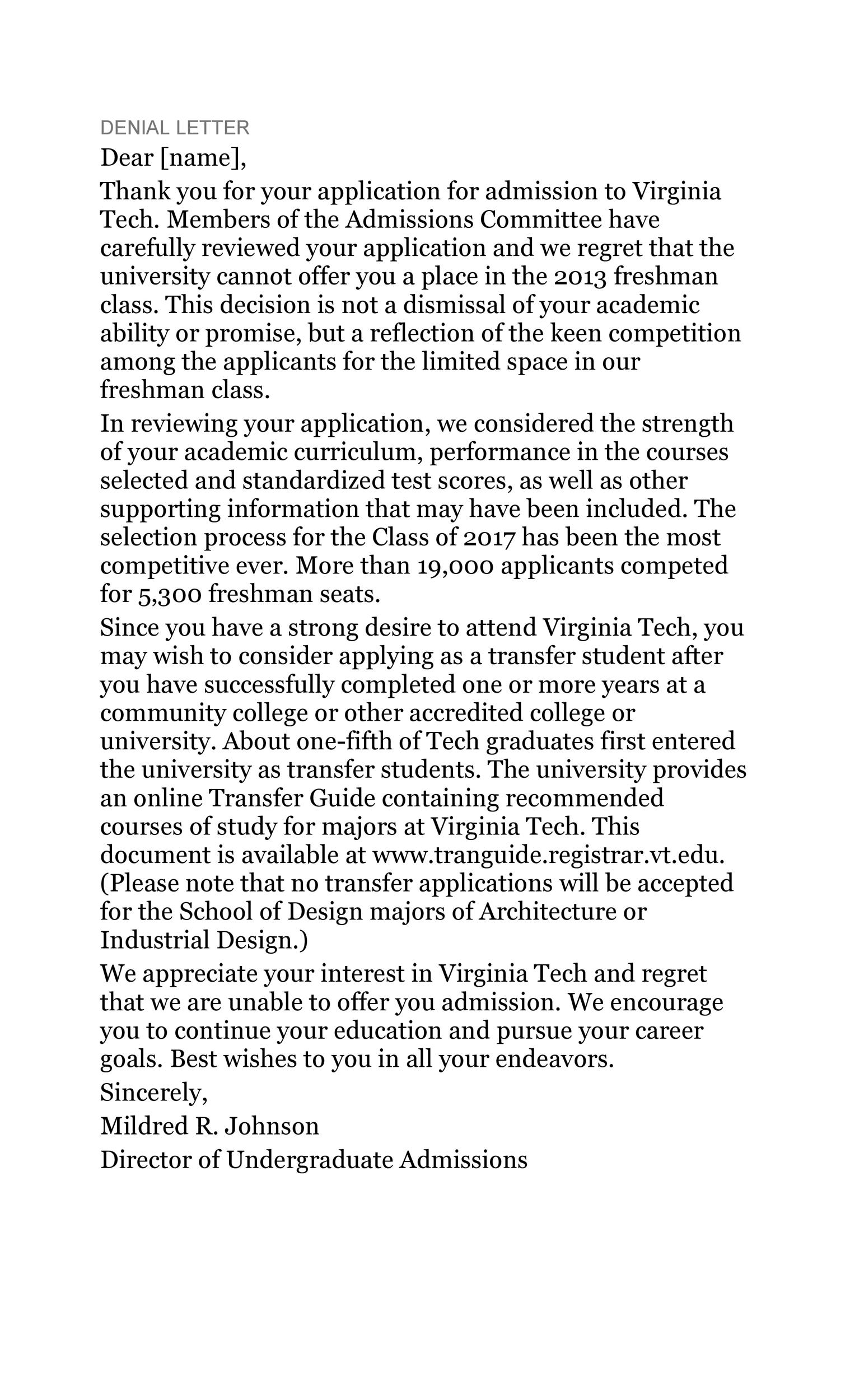 Free college rejection letter 12