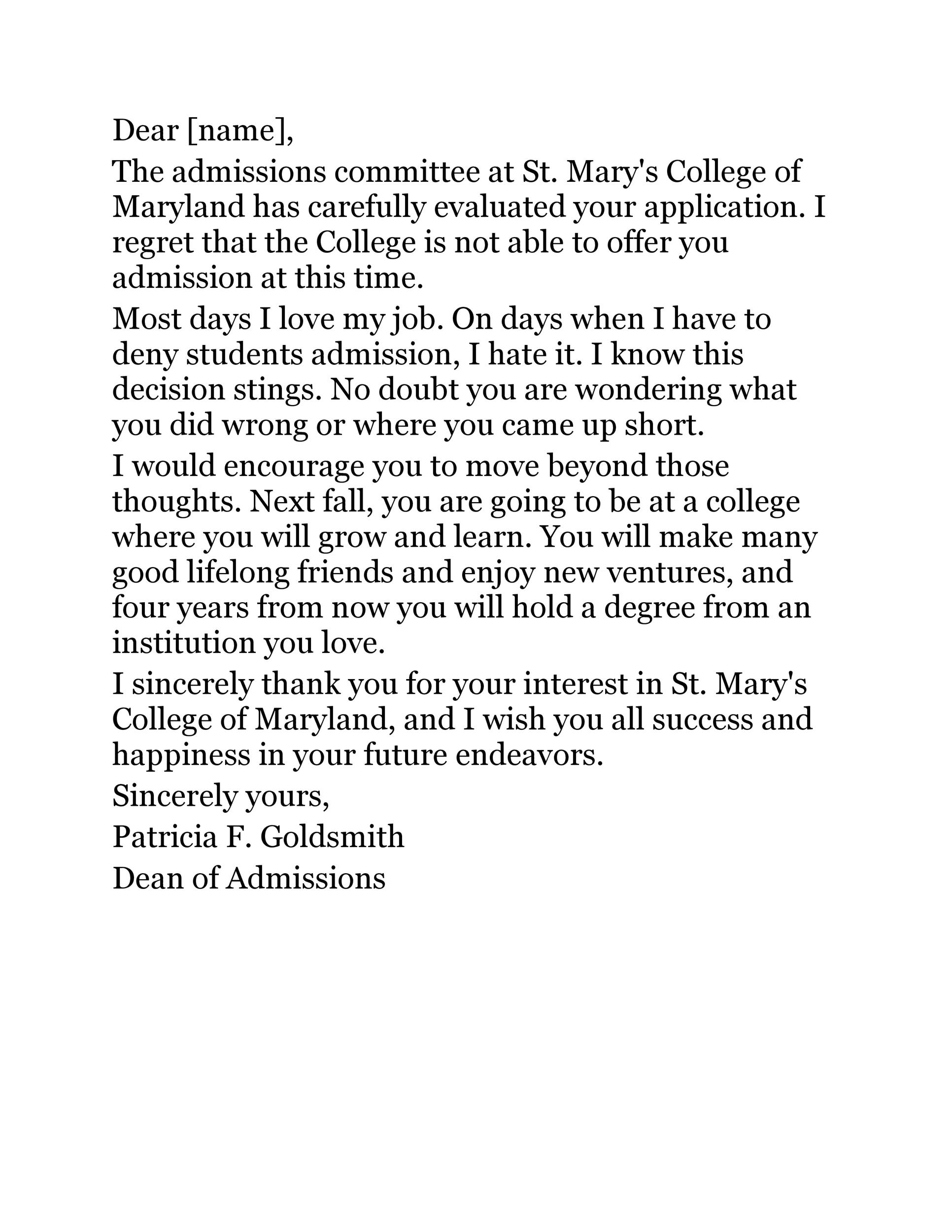 Free college rejection letter 13
