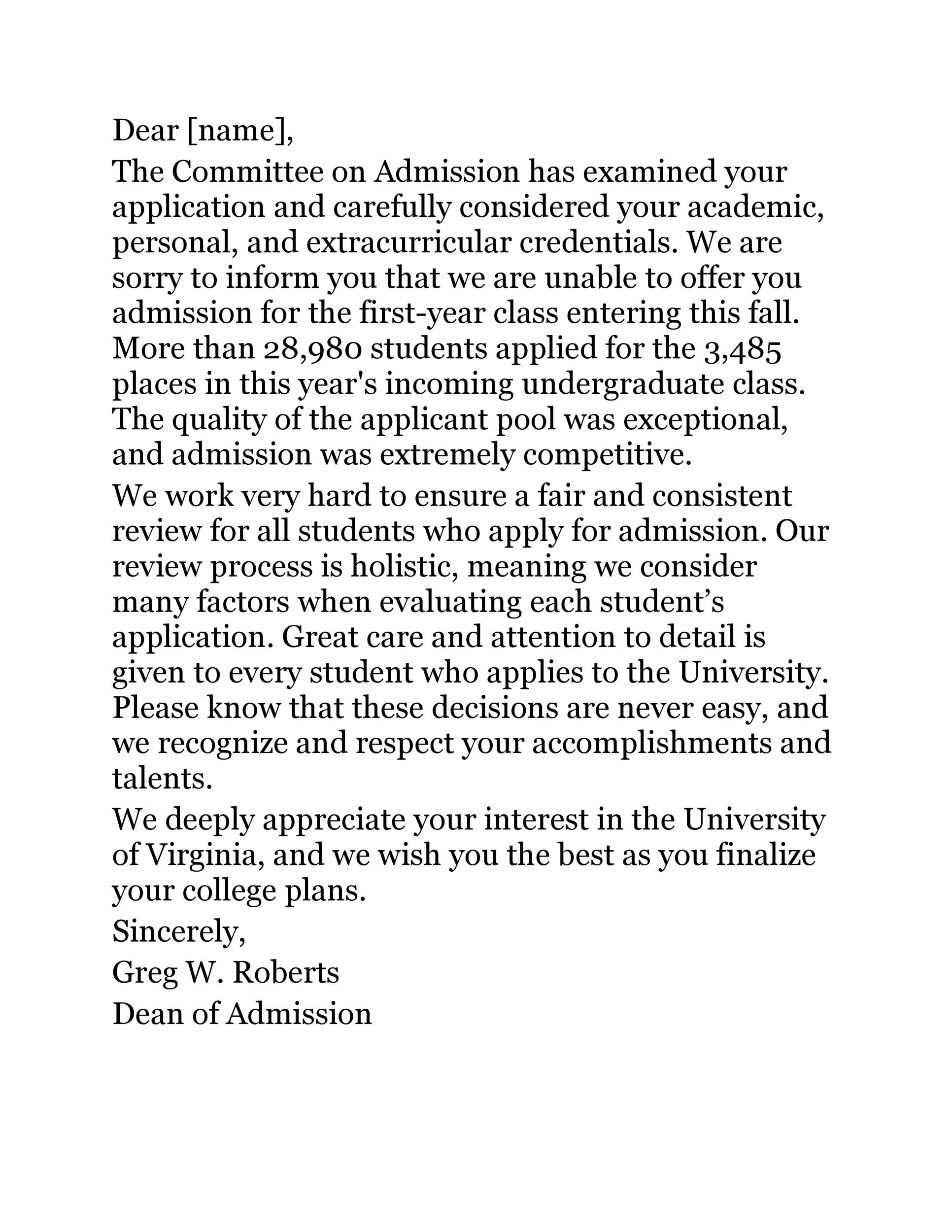 Free college rejection letter 14