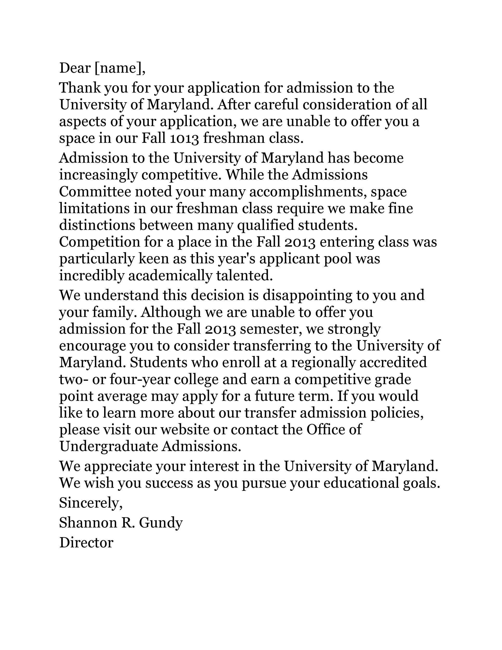 Free college rejection letter 15