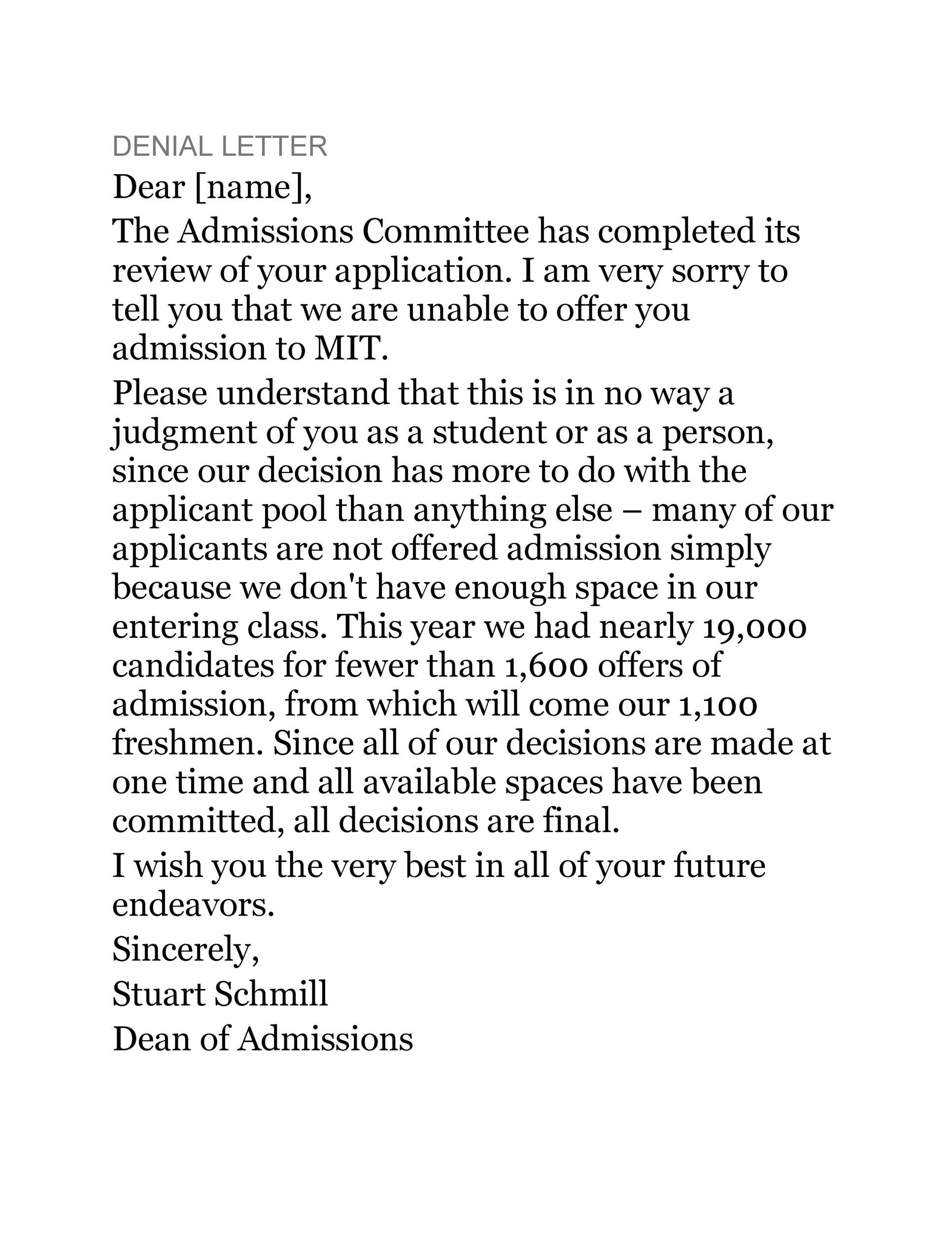 Free college rejection letter 16