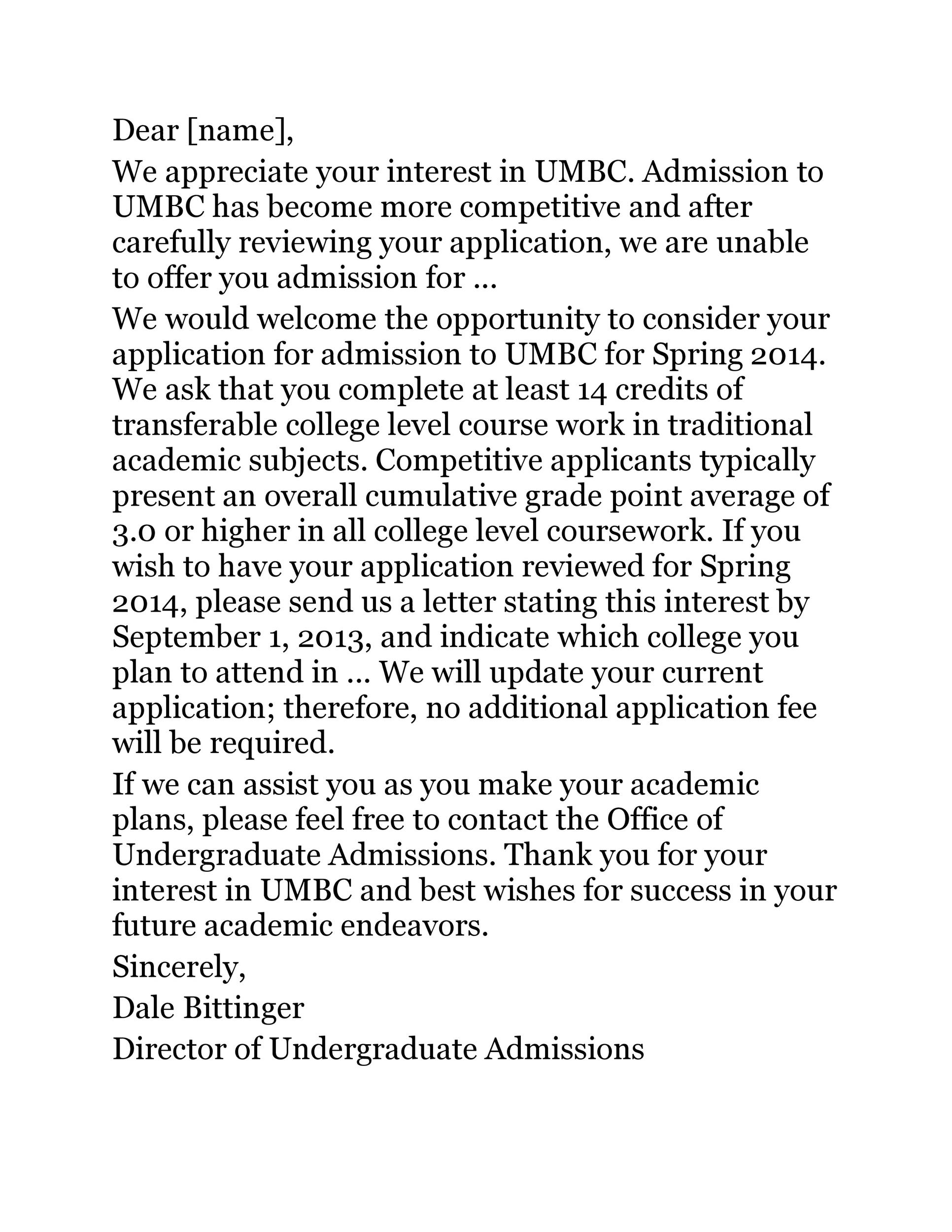 Free college rejection letter 17