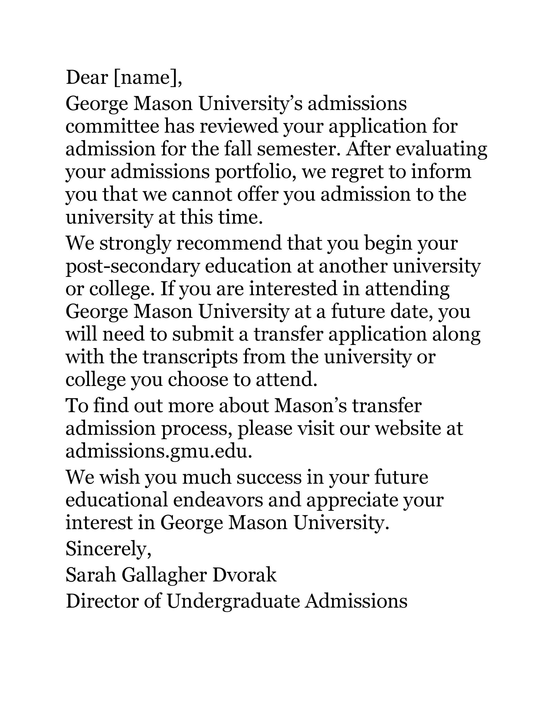 Free college rejection letter 18
