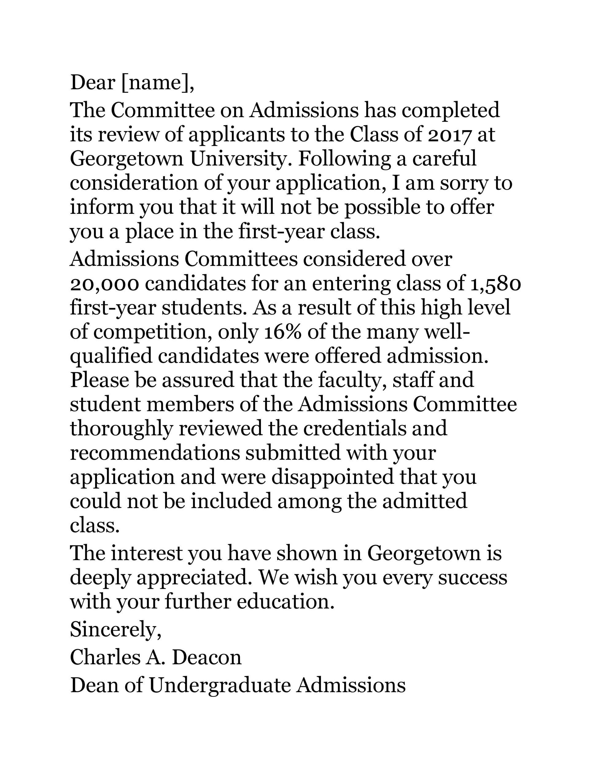 Free college rejection letter 19