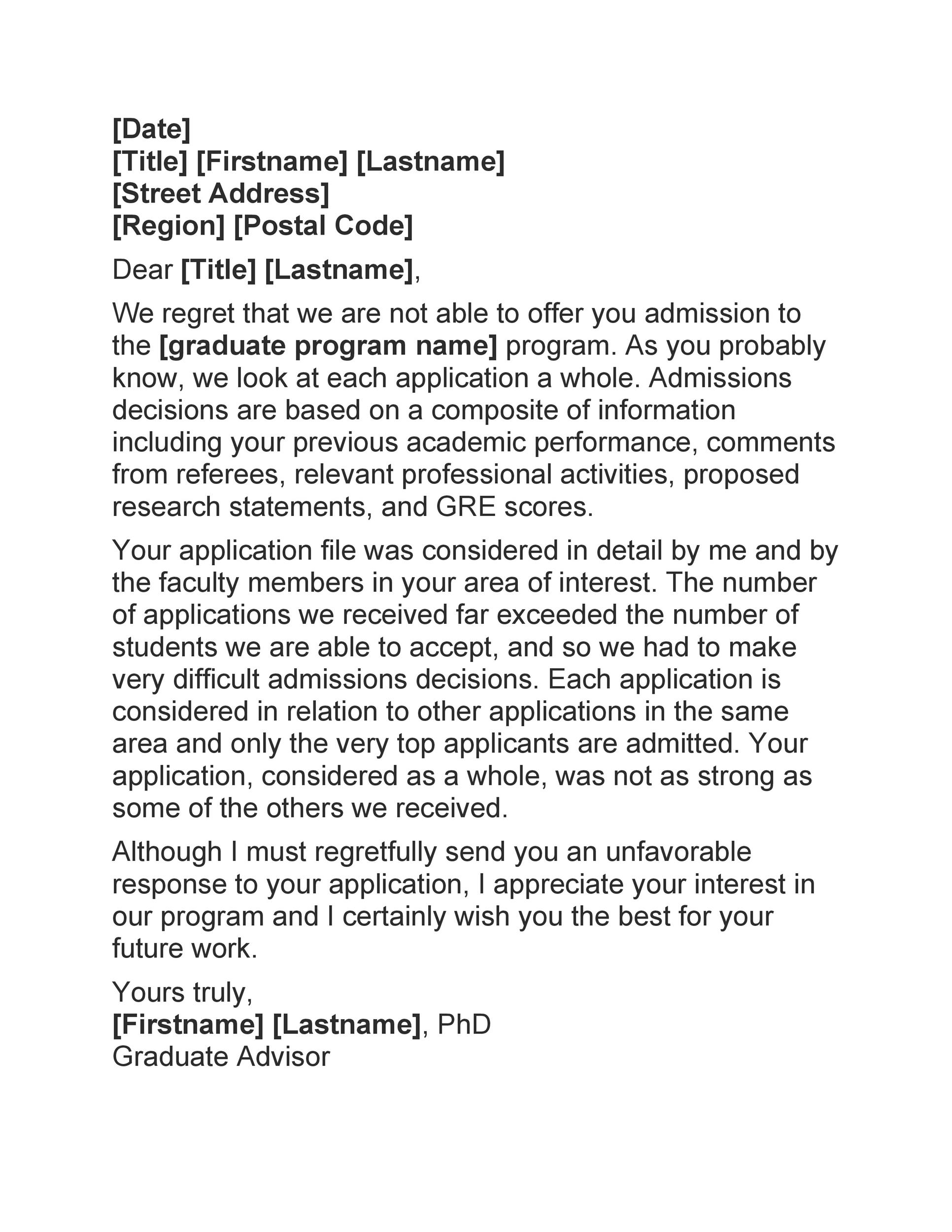 Free college rejection letter 22