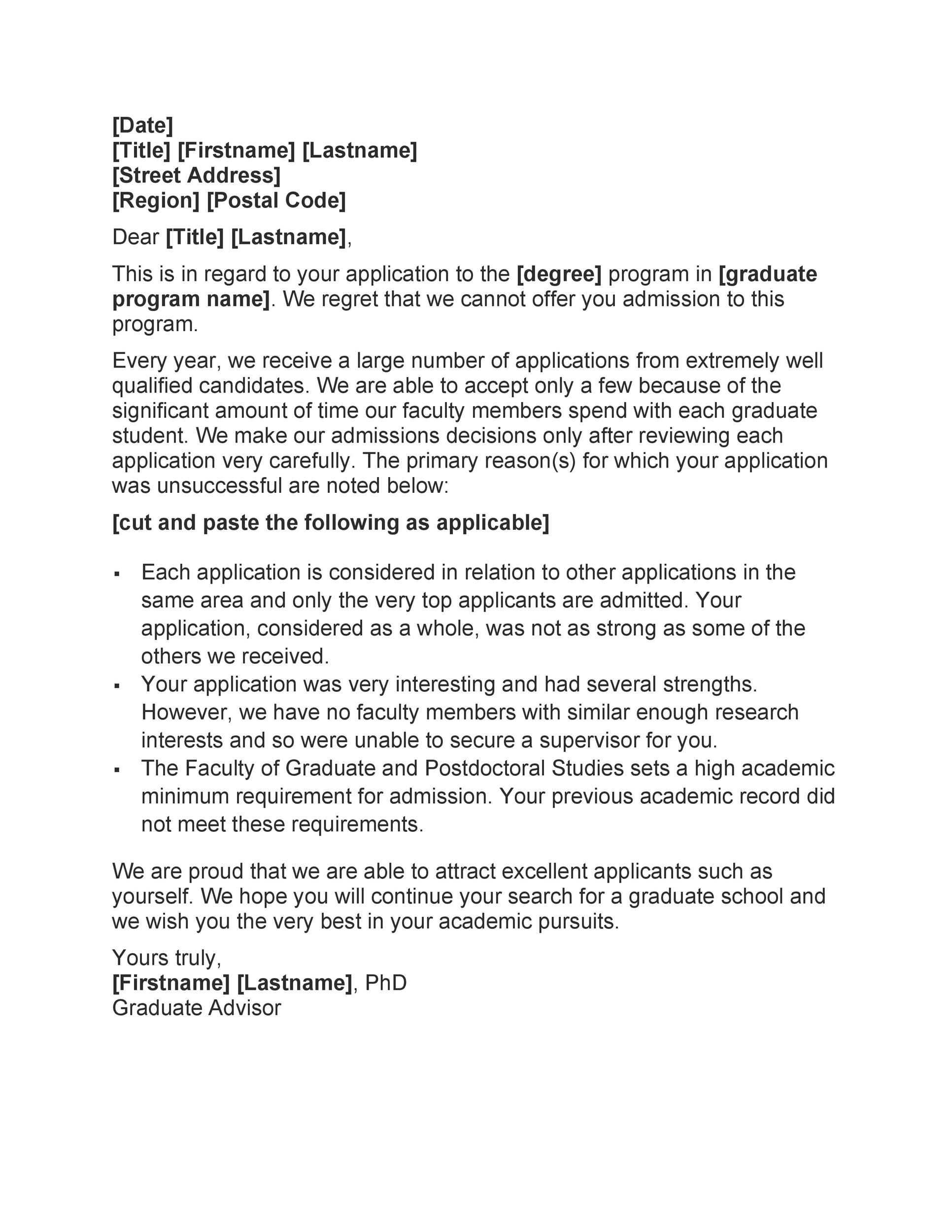 Free college rejection letter 23