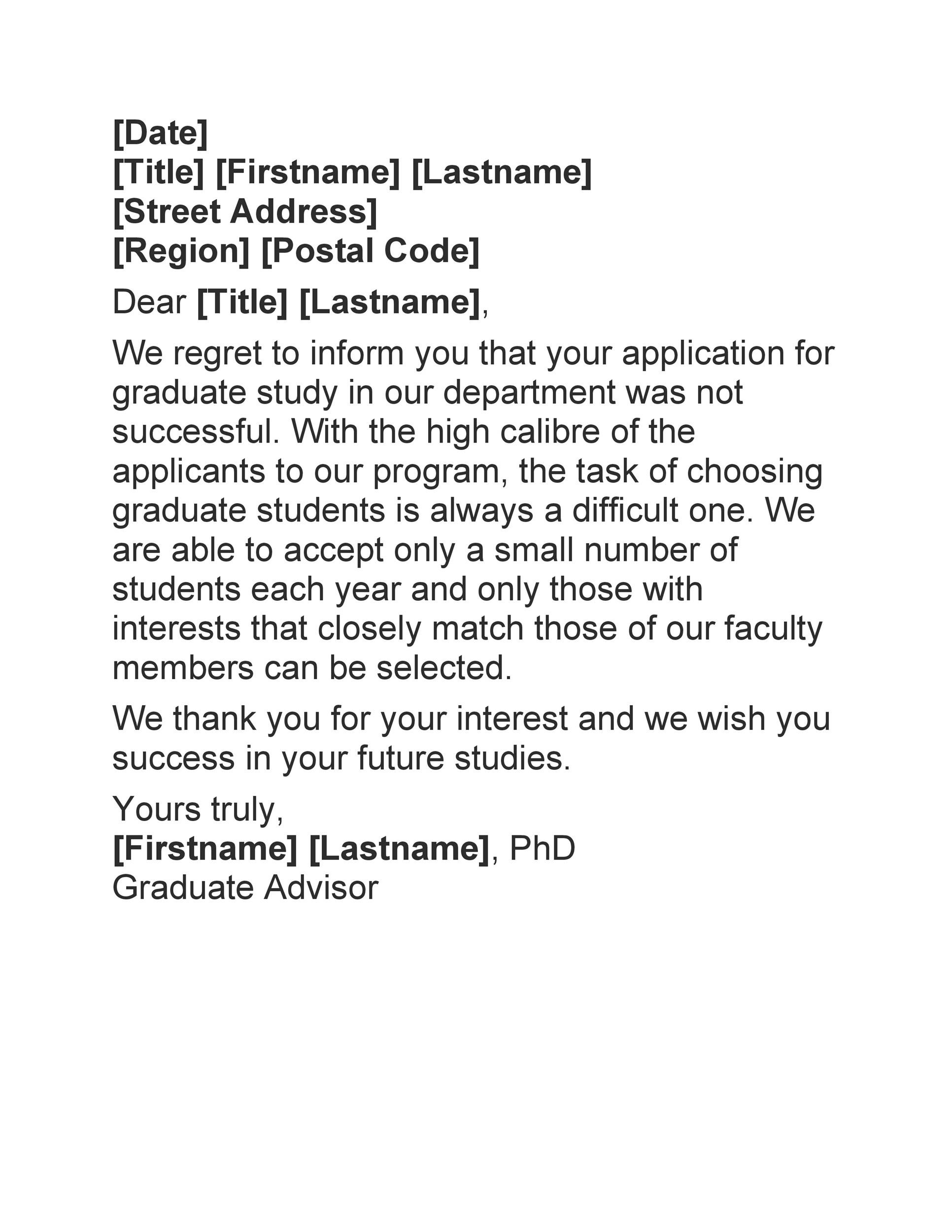 Free college rejection letter 25