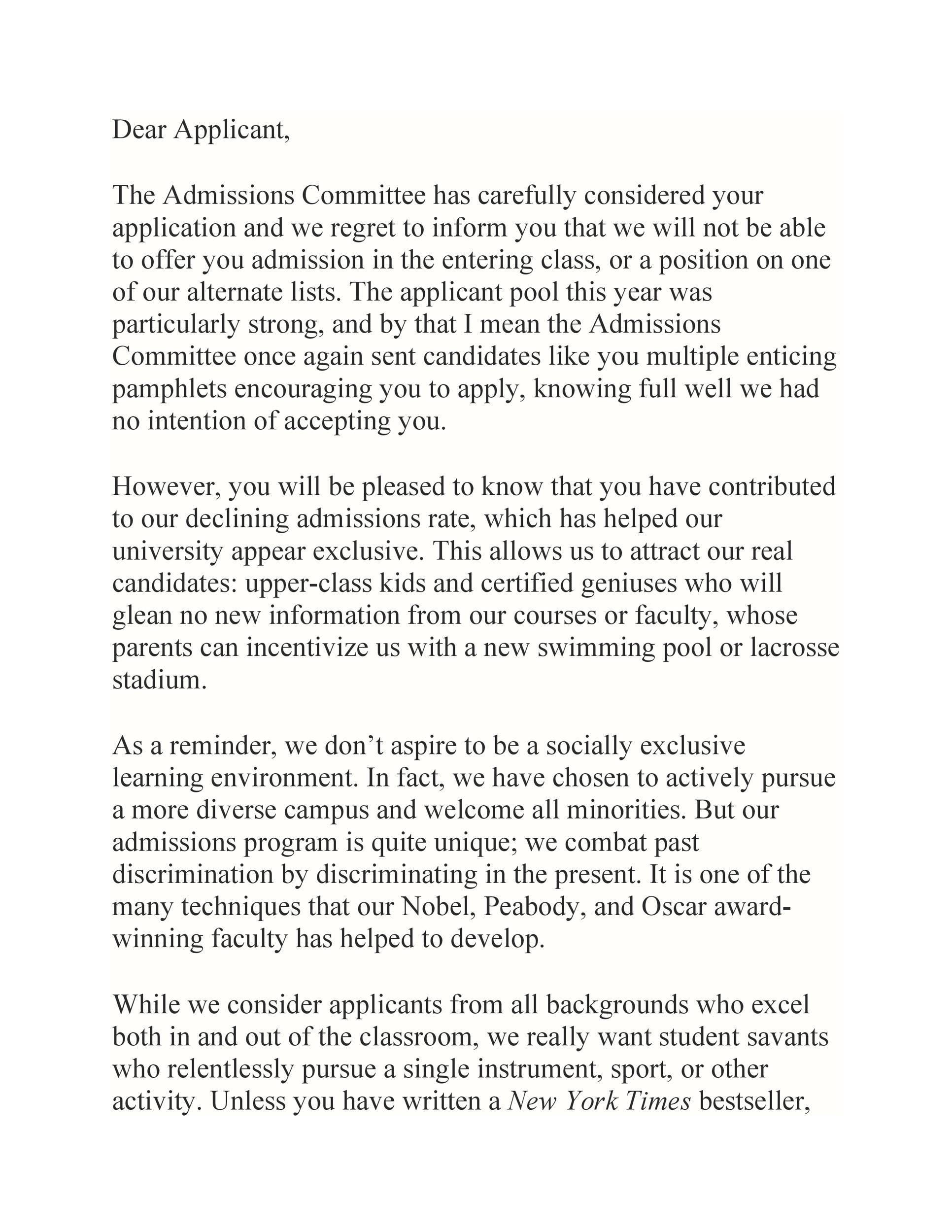 Free college rejection letter 26