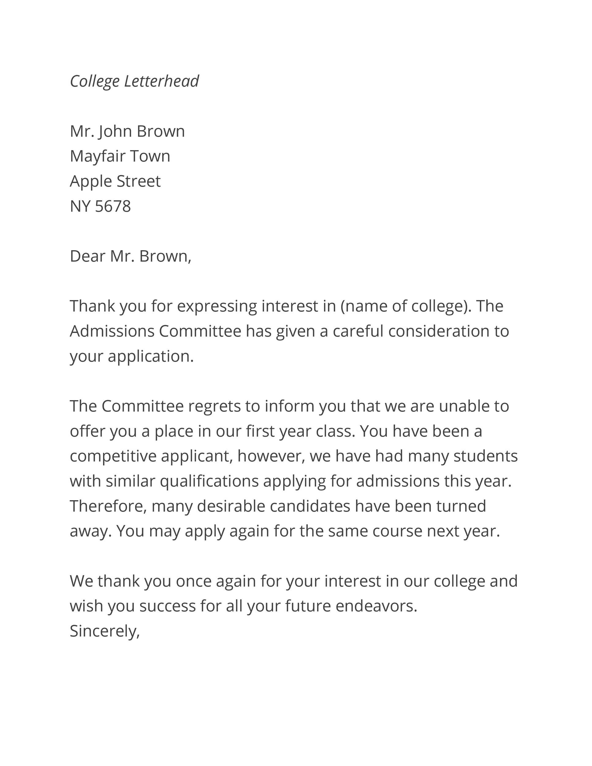 Free college rejection letter 28