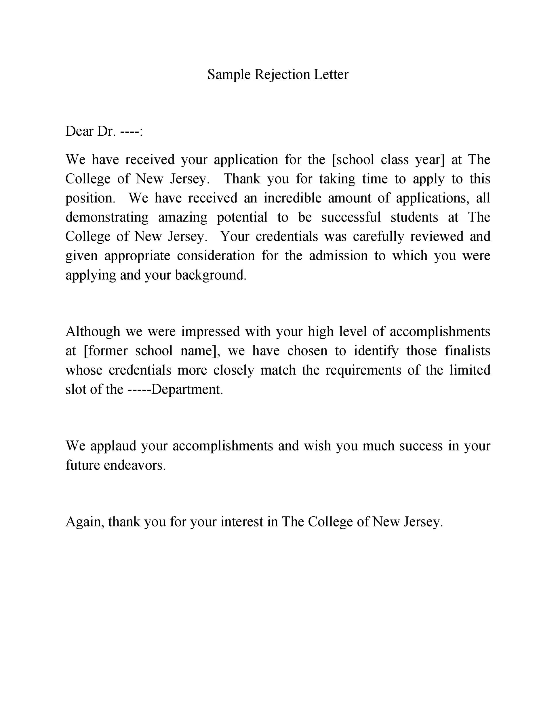 Free college rejection letter 31
