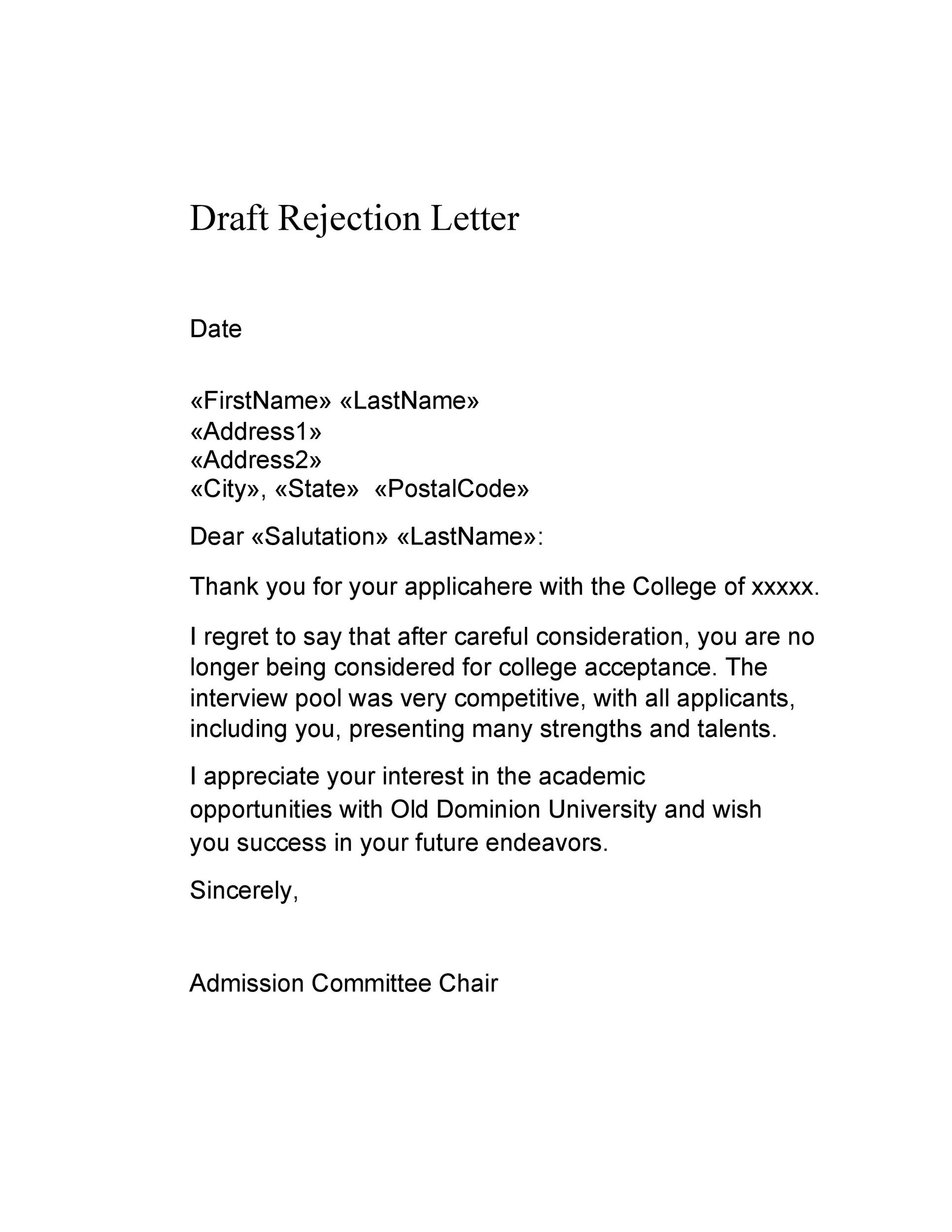 Free college rejection letter 33