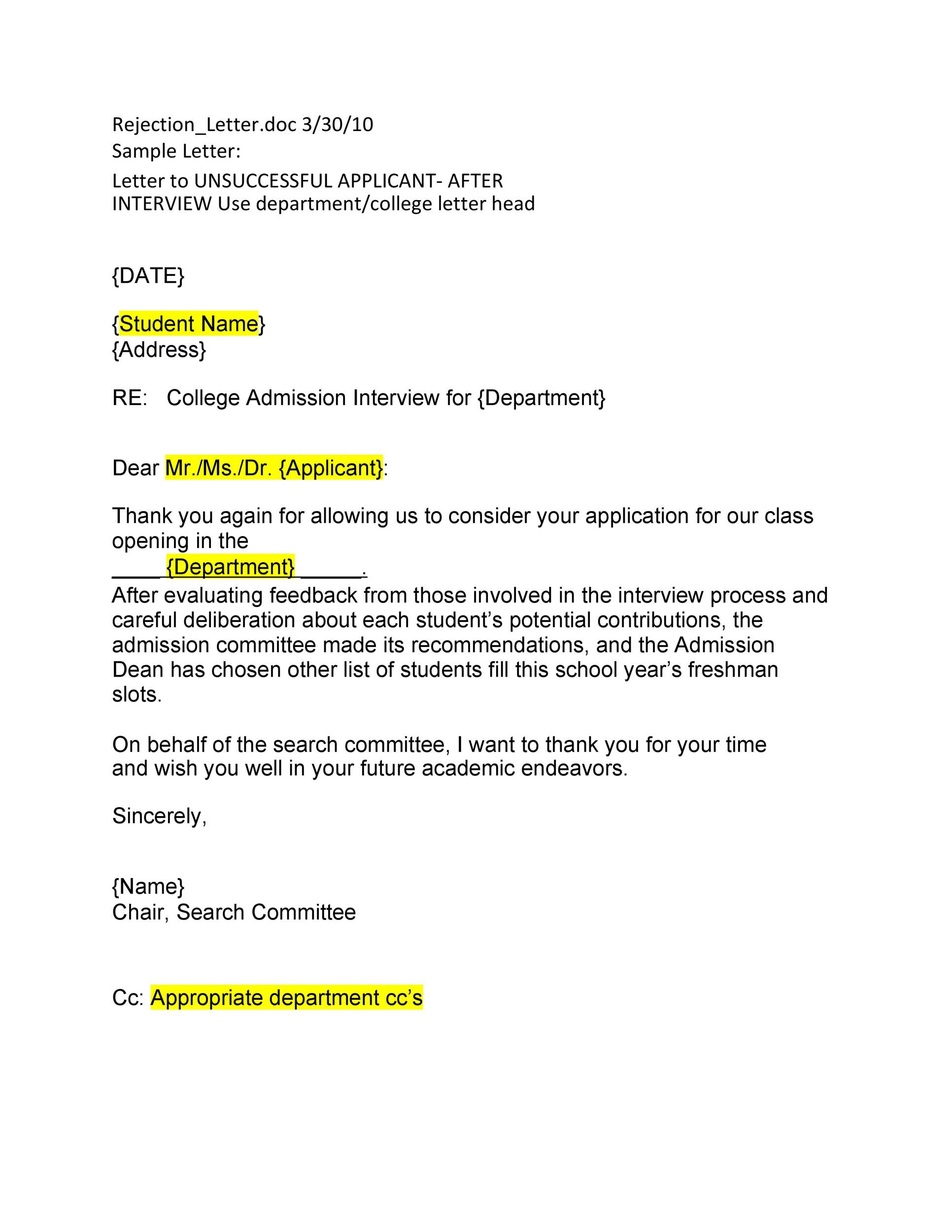 Free college rejection letter 34