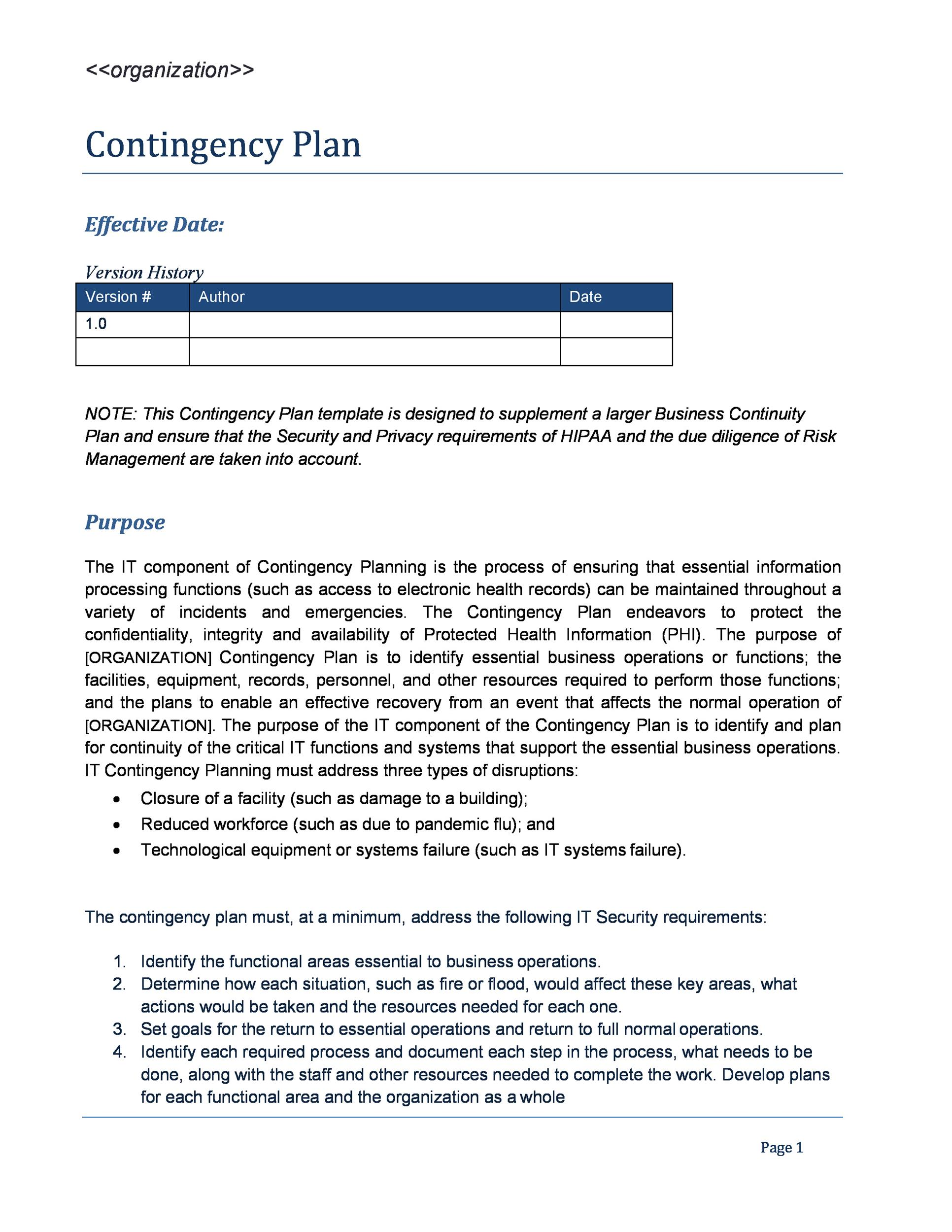 Free contingency plan template 04
