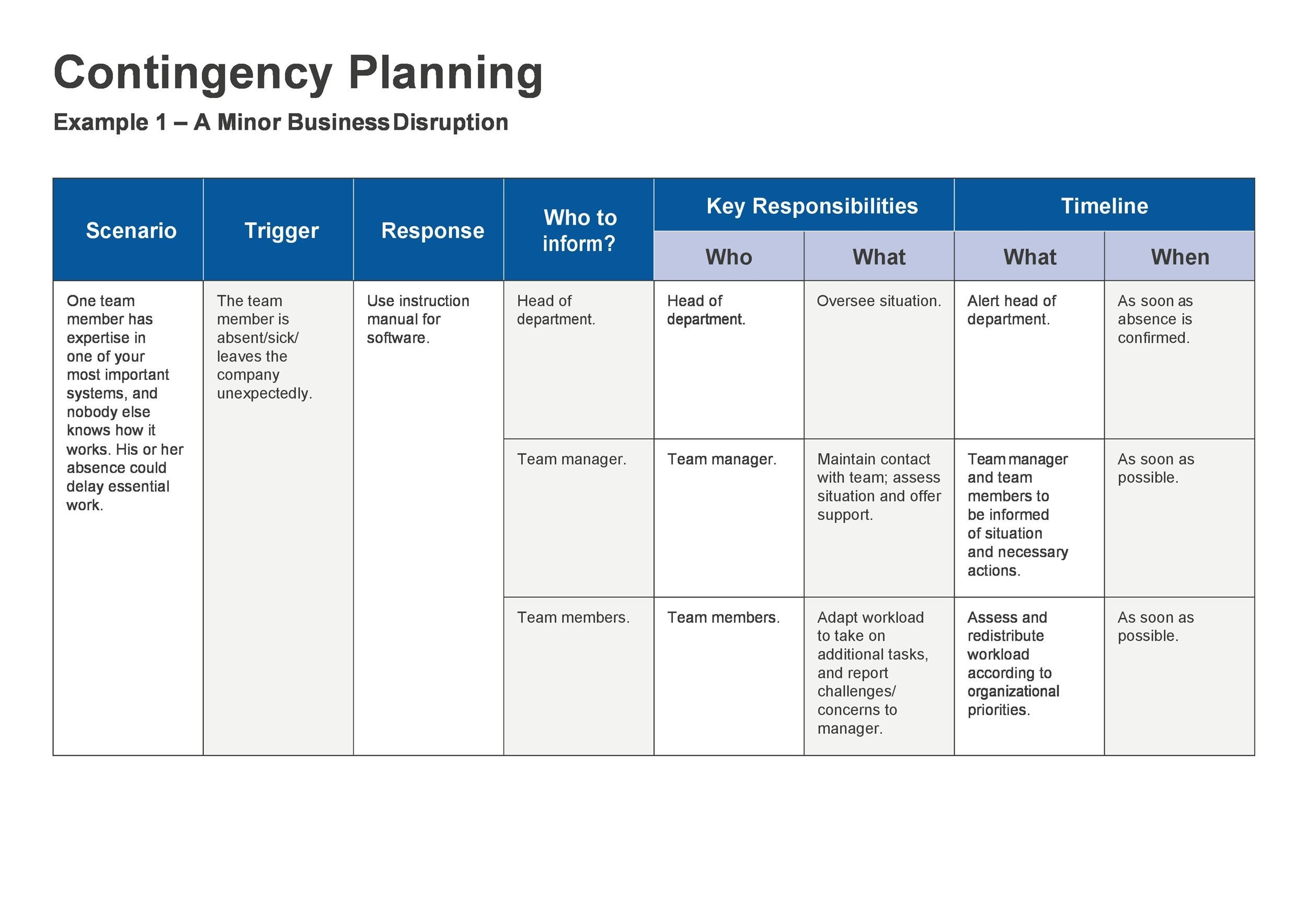 Free contingency plan template 12
