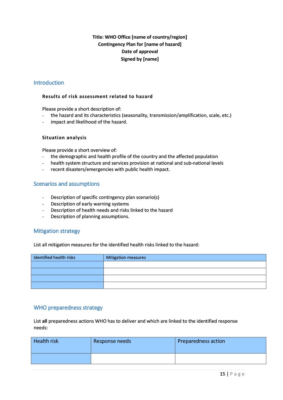 Free contingency plan template 16