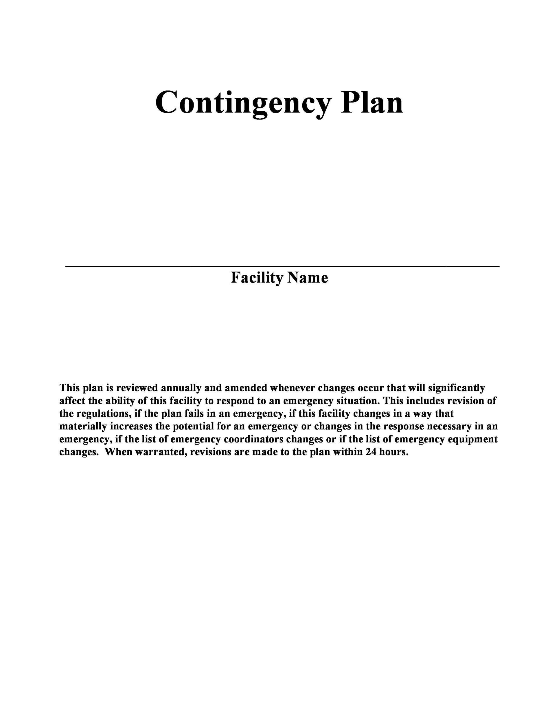 Free contingency plan template 19