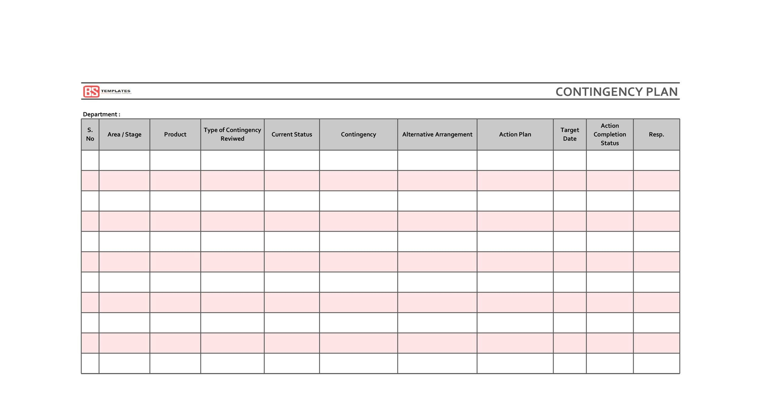 Free contingency plan template 30