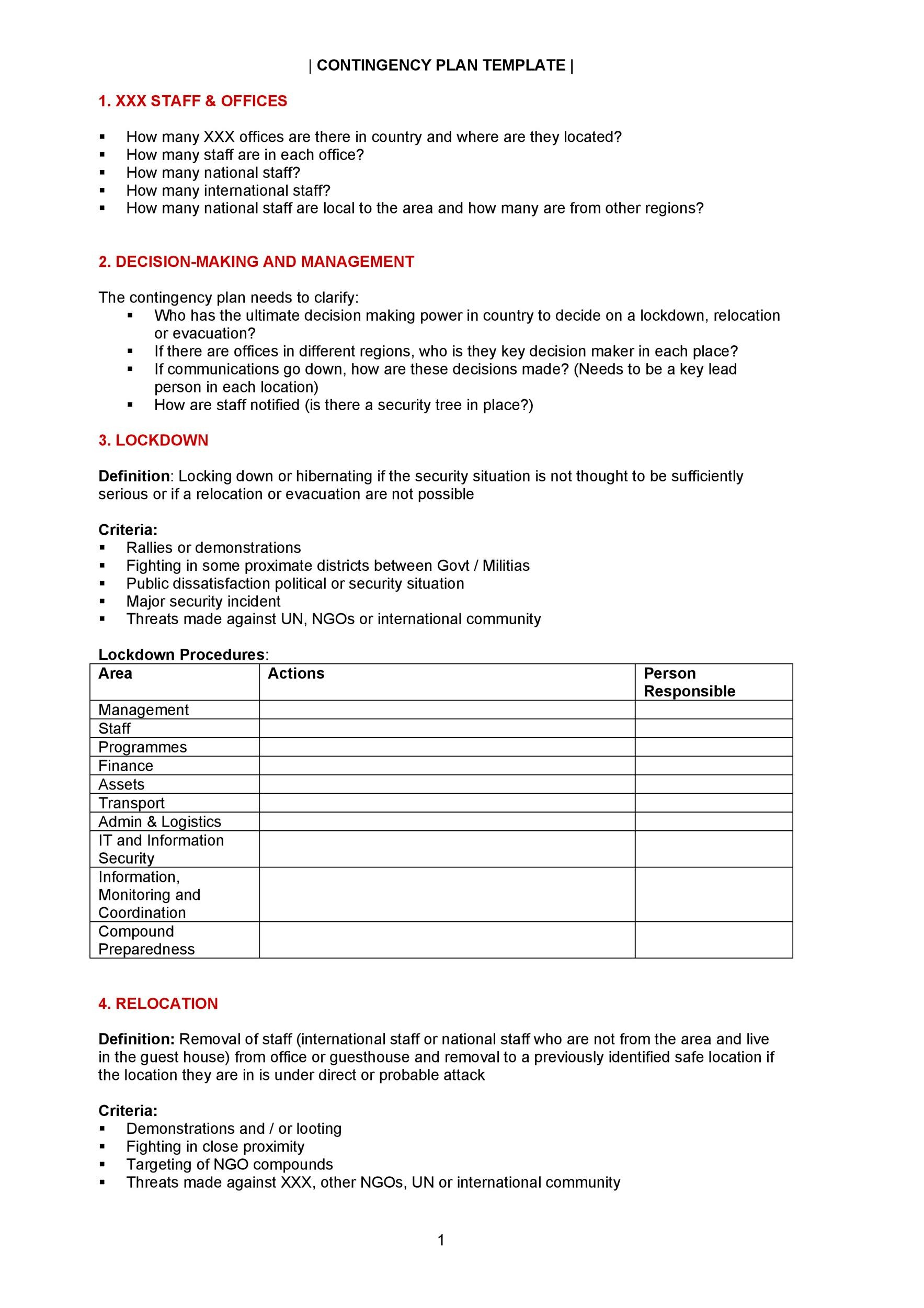 Free contingency plan template 34