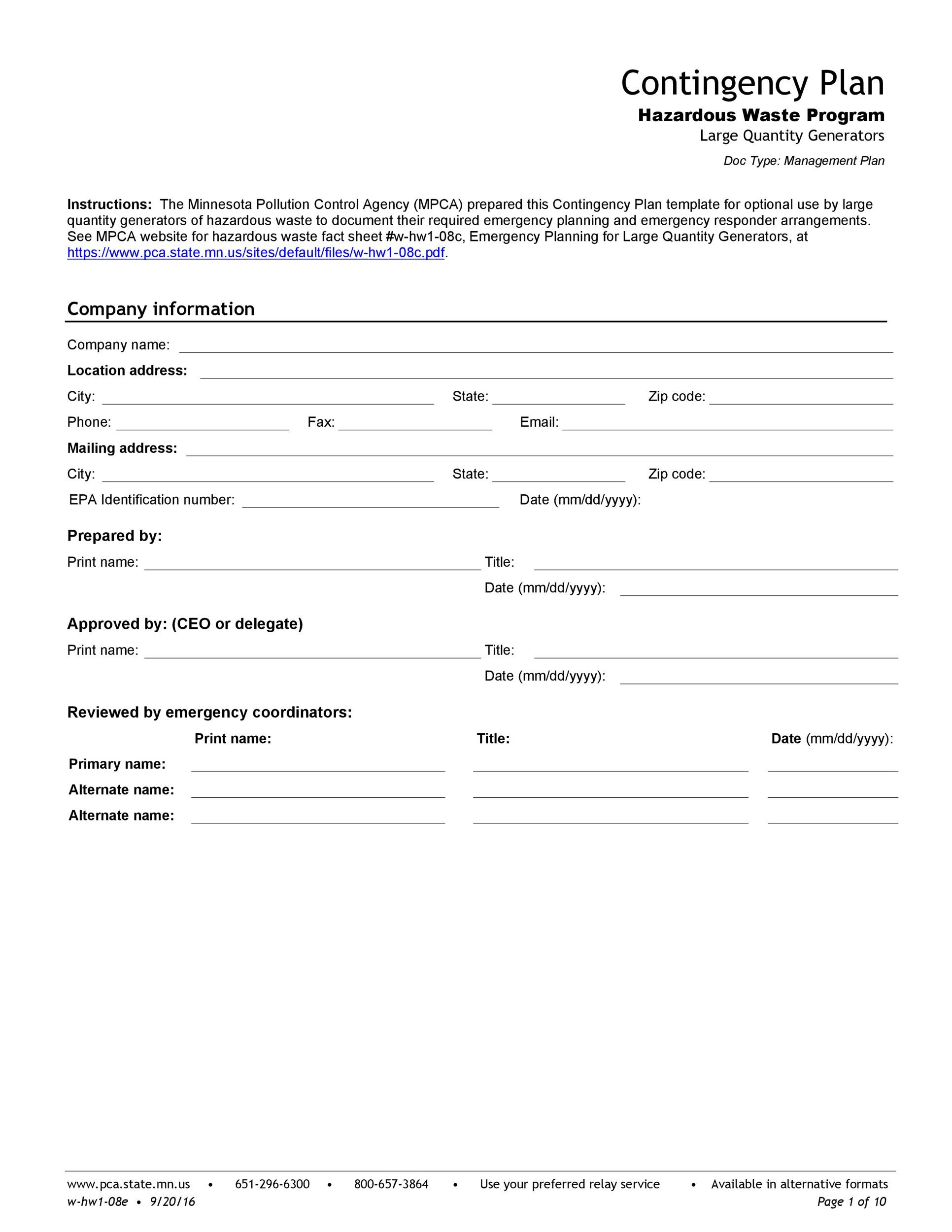 Free contingency plan template 35