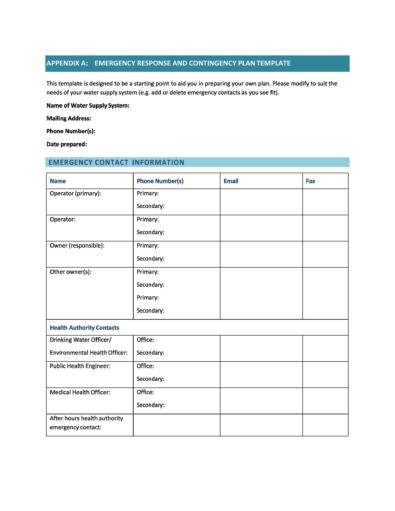 Contingency Plan Examples
