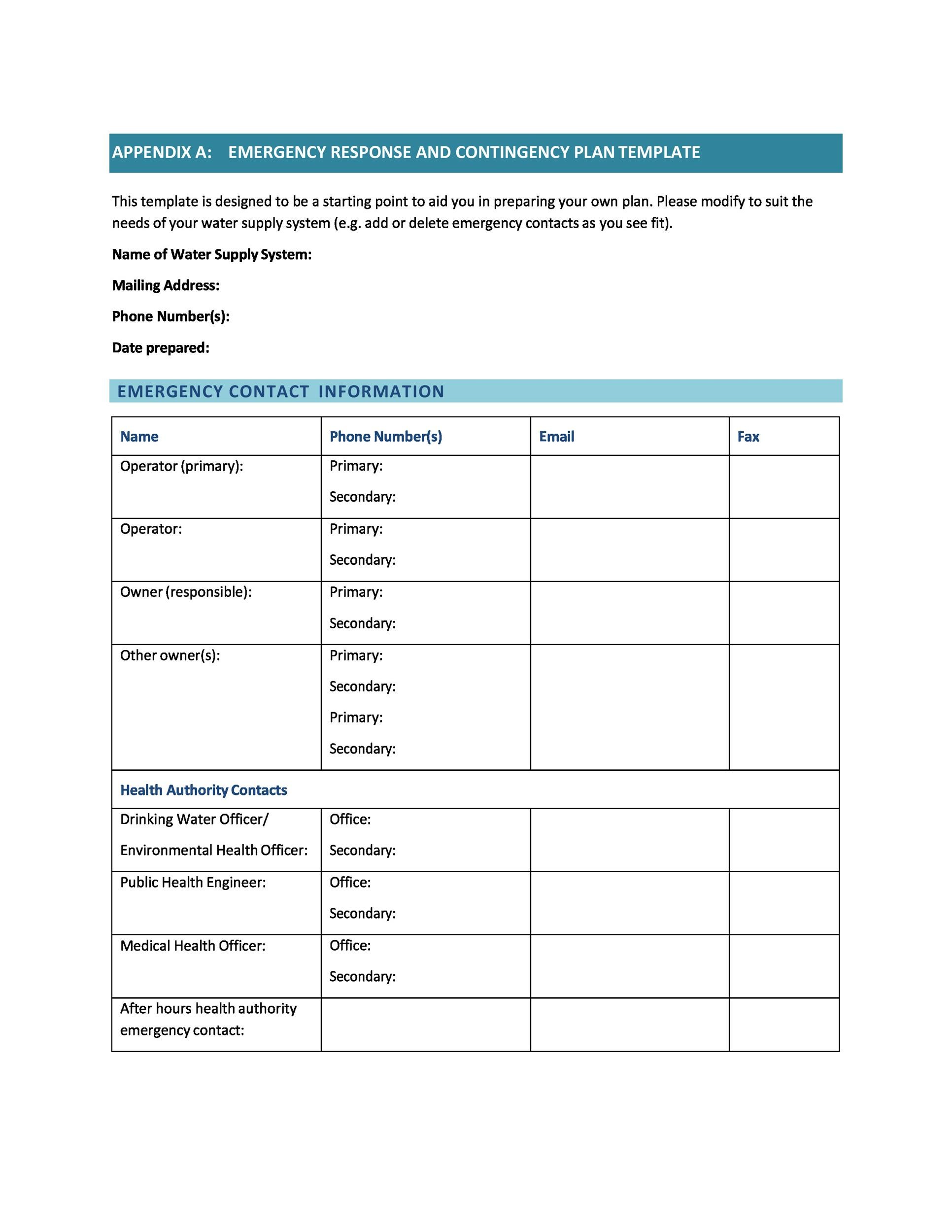 Free contingency plan template 36