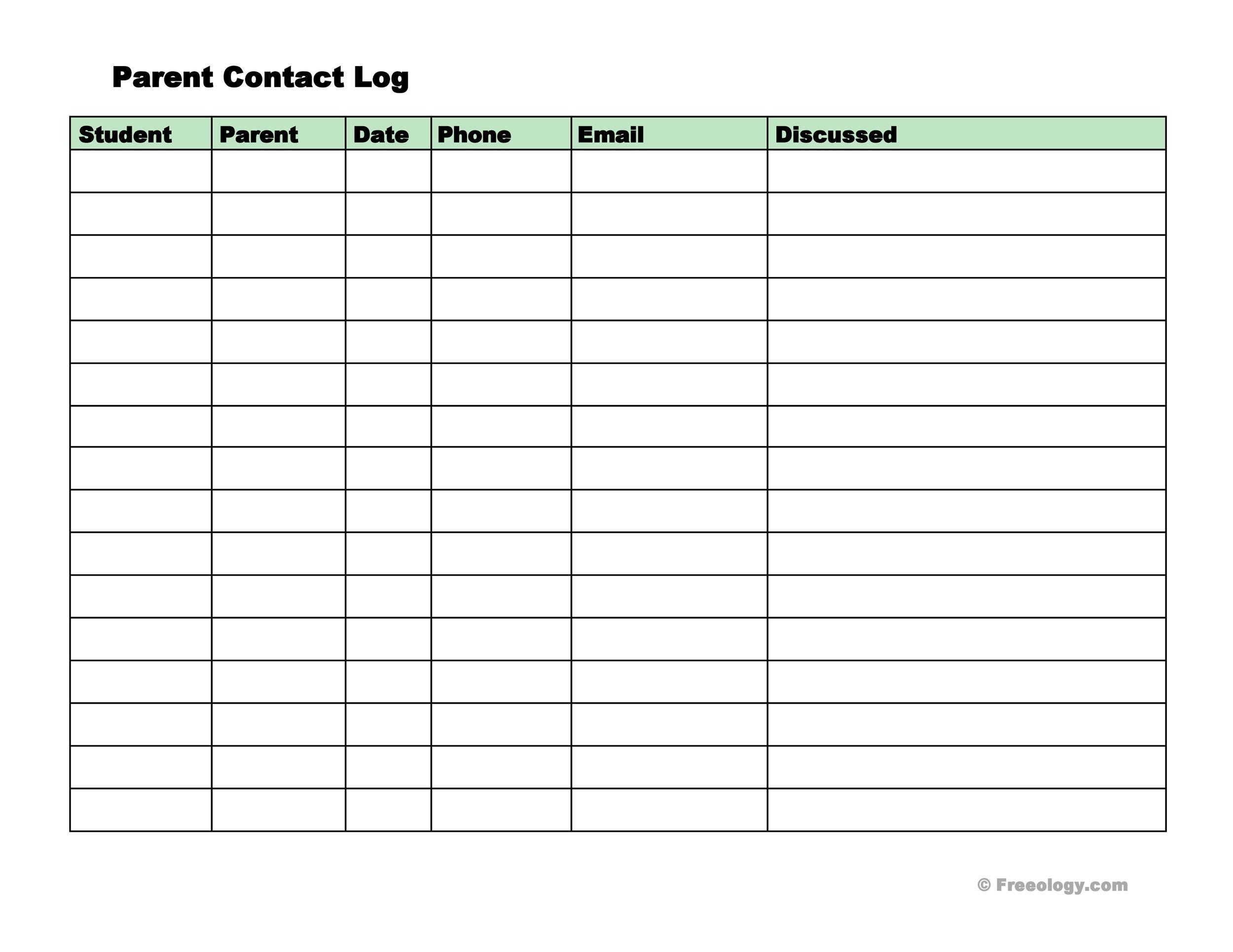 Free parent contact log 01