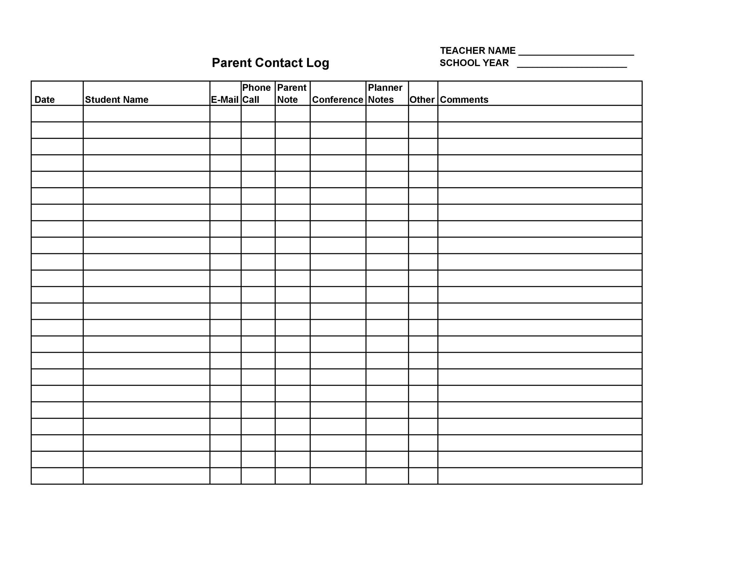 Free parent contact log 05