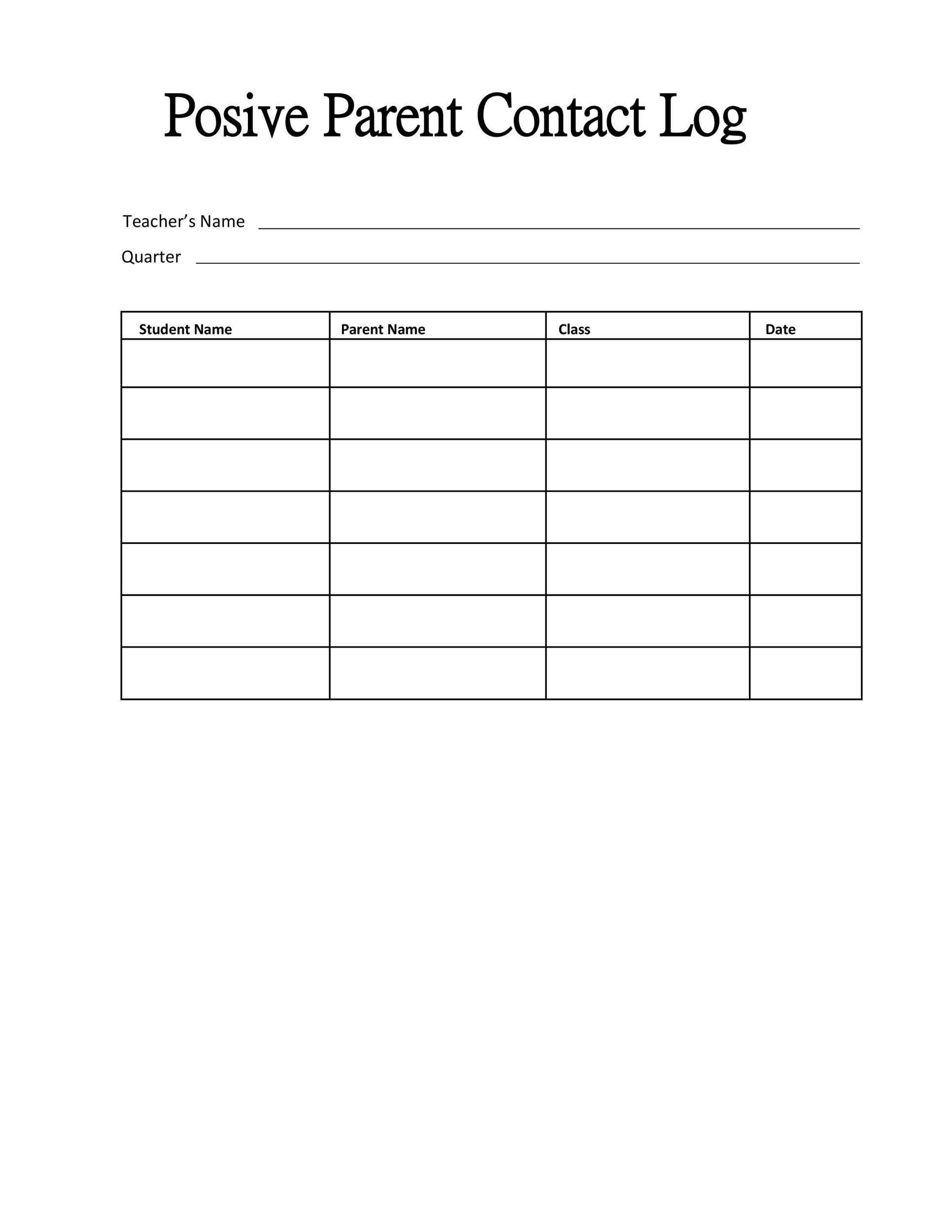 Free parent contact log 06