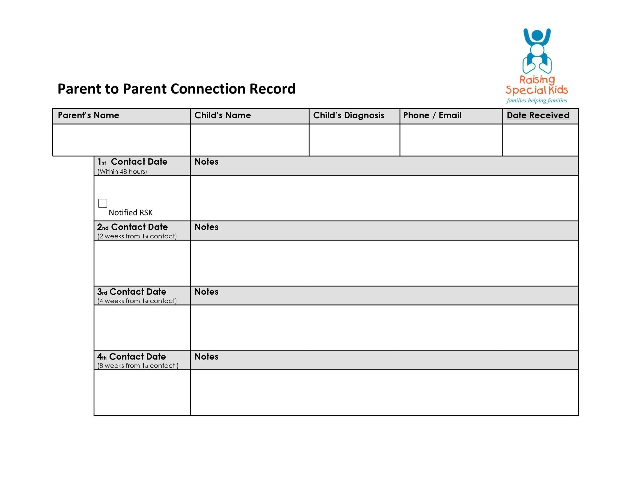 Free parent contact log 18